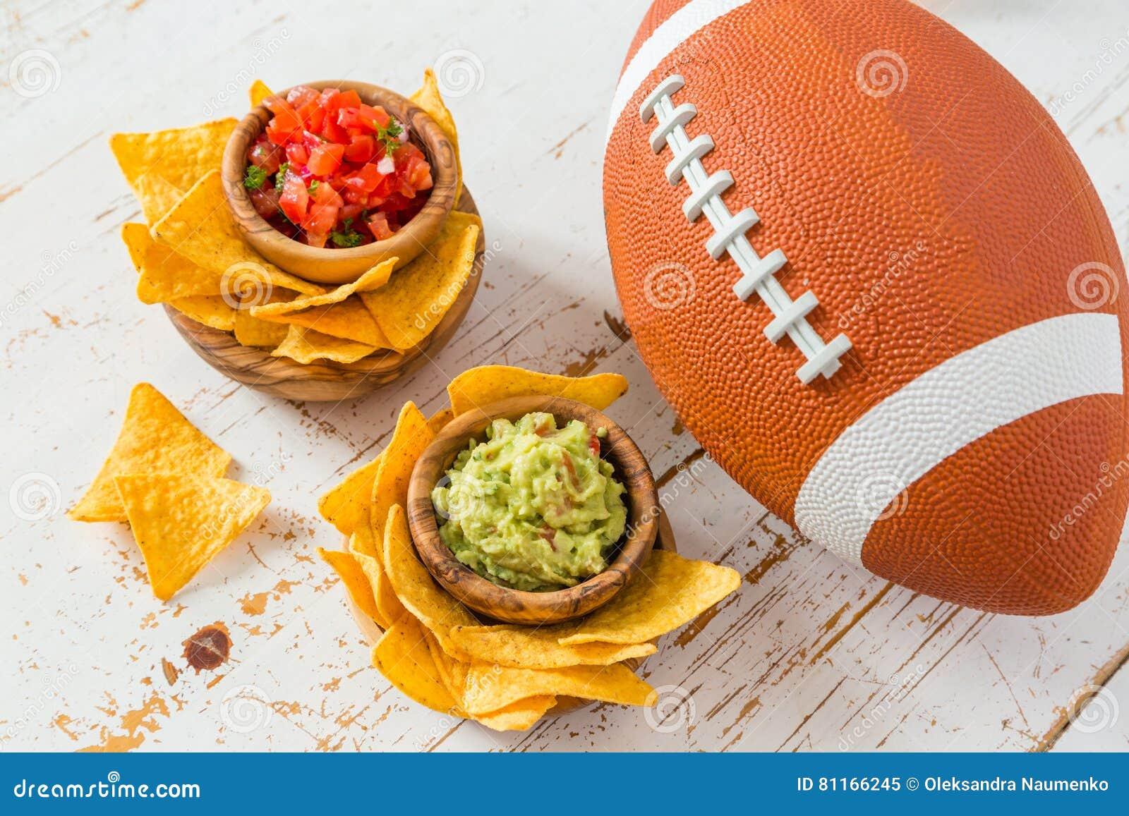 Τρόφιμα κομμάτων ποδοσφαίρου, έξοχη ημέρα κύπελλων, salsa nachos guacamole