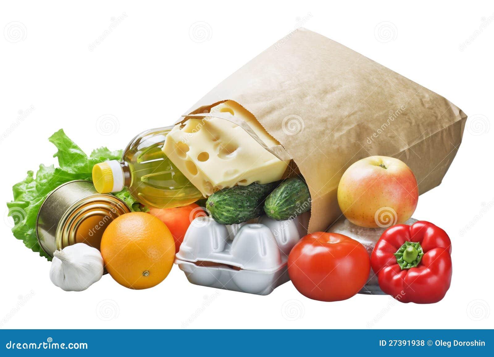 Τρόφιμα σε μια τσάντα εγγράφου