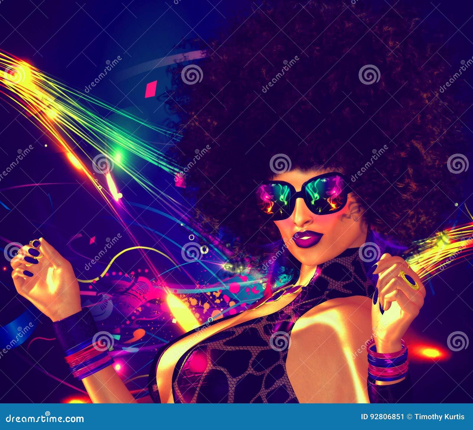 Τρύγος, αναδρομικός, κορίτσι χορευτών disco με το ύφος τρίχας Afro Προκλητική, υψηλής ενέργειας εικόνα για τα θέματα ζωής ψυχαγωγ