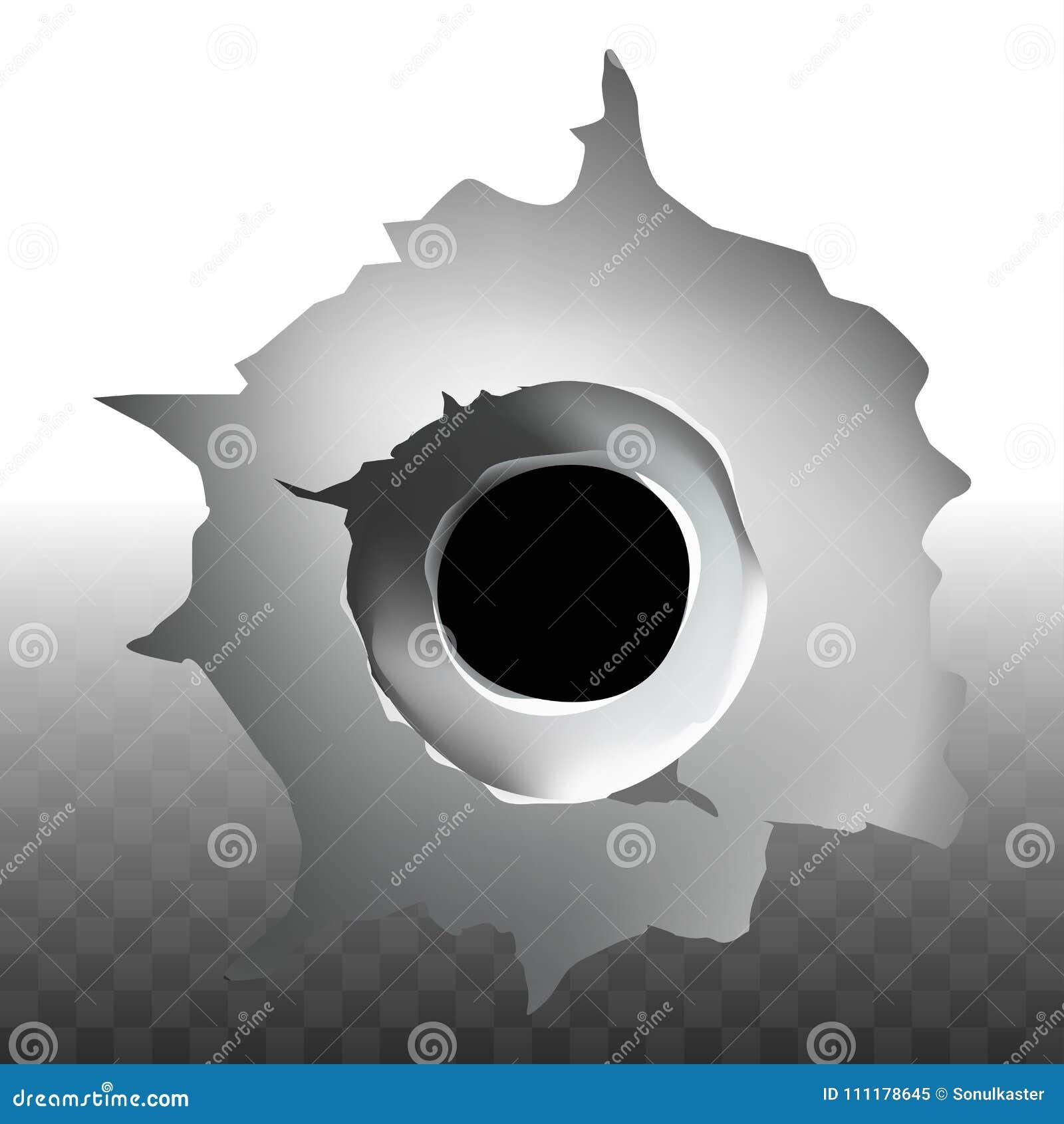 Τρύπα πυροβολισμών σφαιρών στη διανυσματική διαφανή ρωγμή υποβάθρου