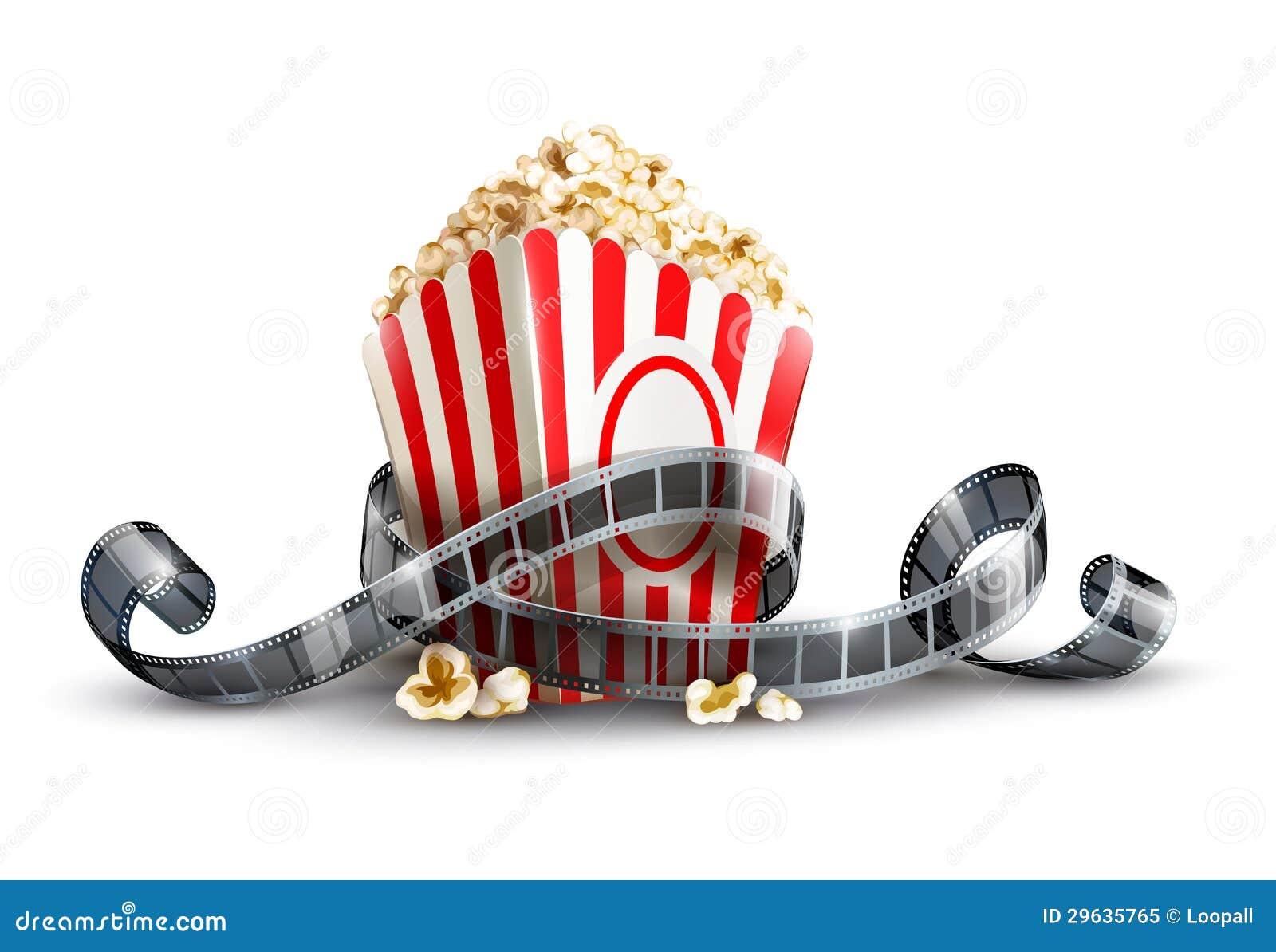 Τσάντα εγγράφου με popcorn και το εξέλικτρο κινηματογράφων
