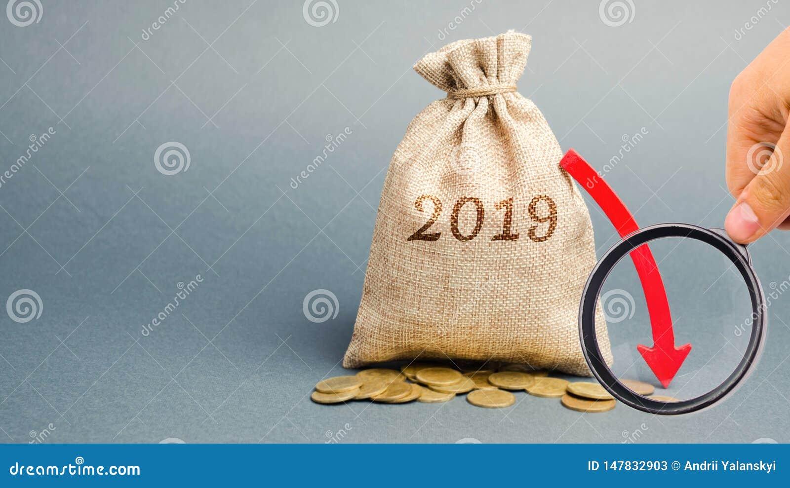 Τσάντα χρημάτων με την επιγραφή 2019 και το κόκκινο βέλος κάτω Ετήσια έκθεση Επιχειρησιακή υποχώρηση Αναξιόπιστη επένδυση Κρίση κ