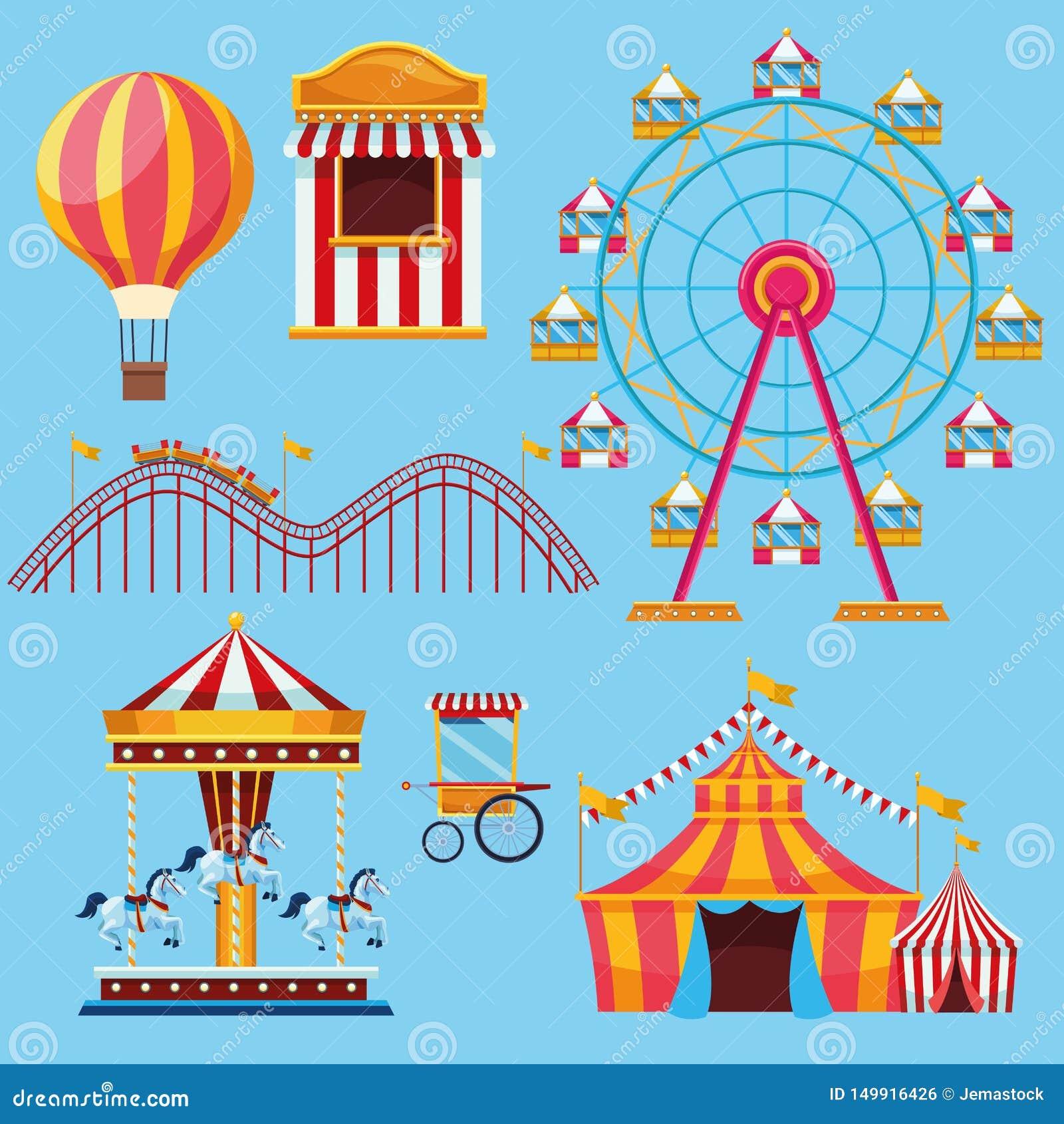 Τσίρκο και σύνολο φεστιβάλ κινούμενων σχεδίων εικονιδίων