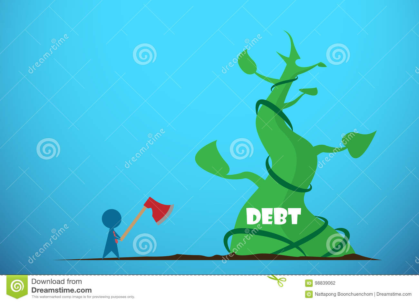 Τσεκούρι εκμετάλλευσης επιχειρηματιών για να κόψει το γίγαντα beanstalk, την έννοια χρέους και επιχειρήσεων