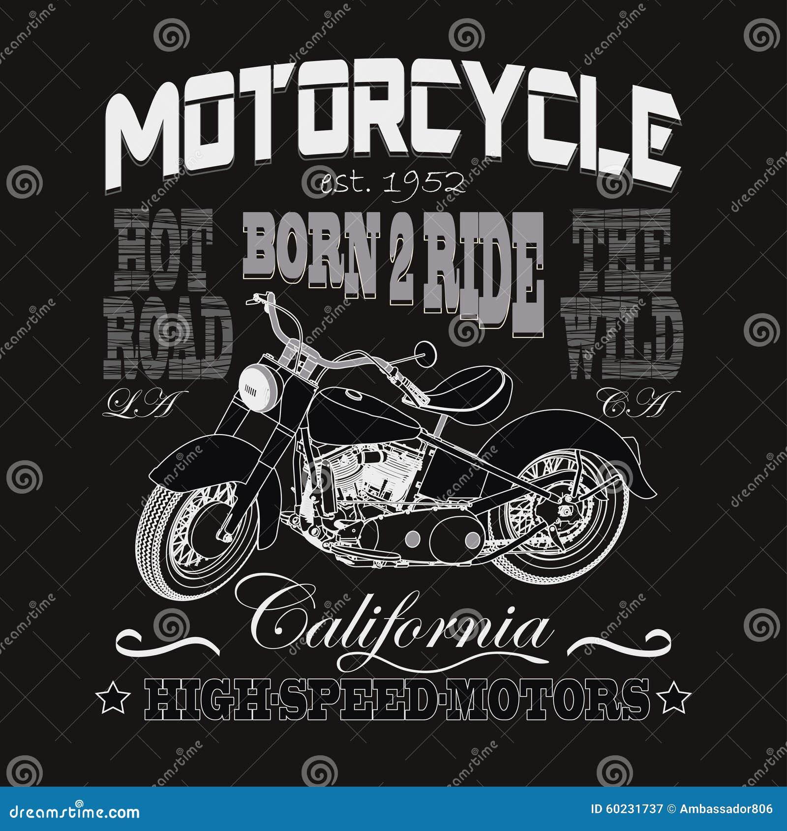 Τυπογραφία αγώνα μοτοσικλετών, μηχανές Καλιφόρνιας