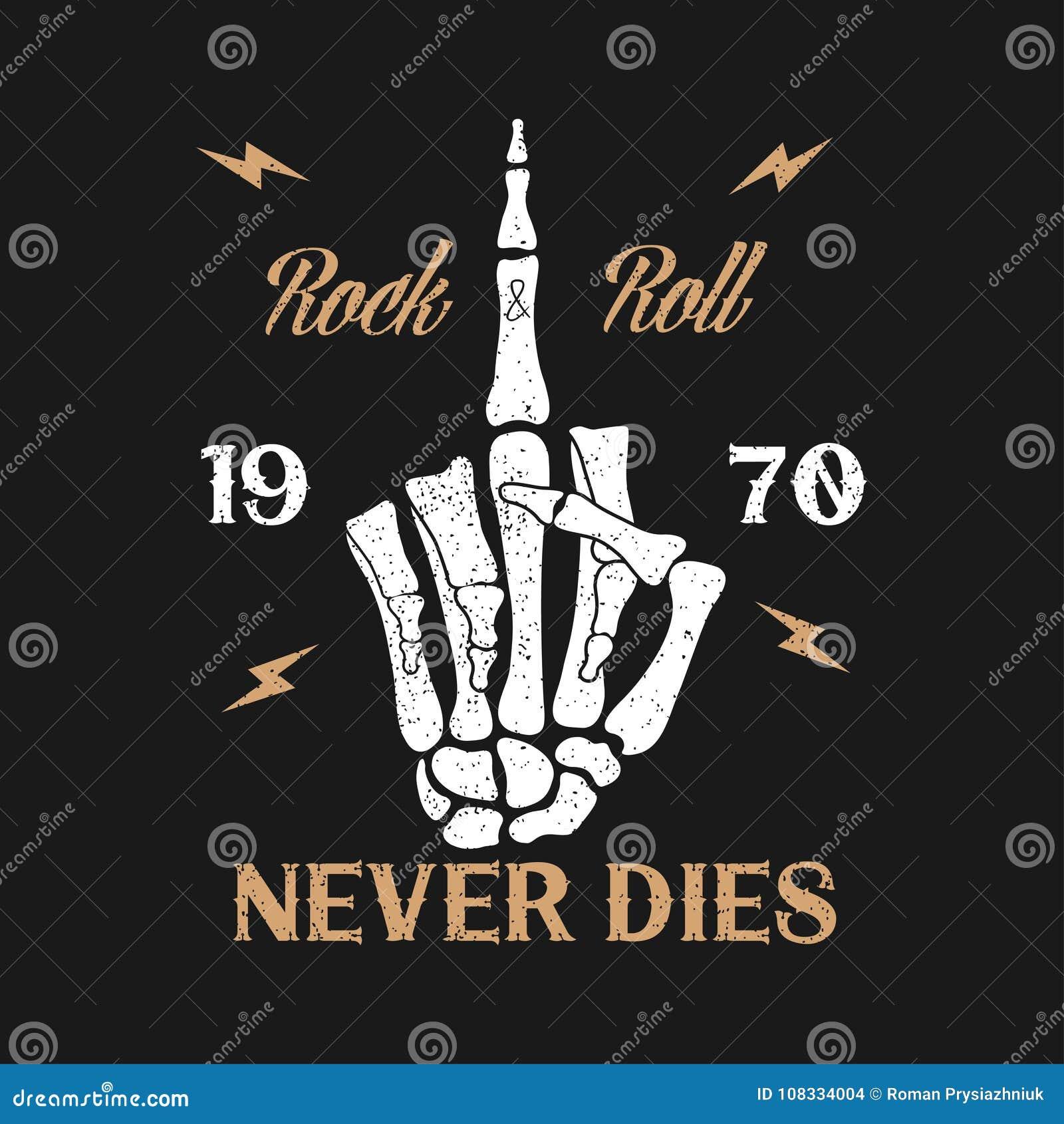 Τυπογραφία μουσικής βράχος-ν-ρόλων grunge για την μπλούζα Το σχέδιο ενδυμάτων με το χέρι σκελετών παρουσιάζει μέση χειρονομία δάχ