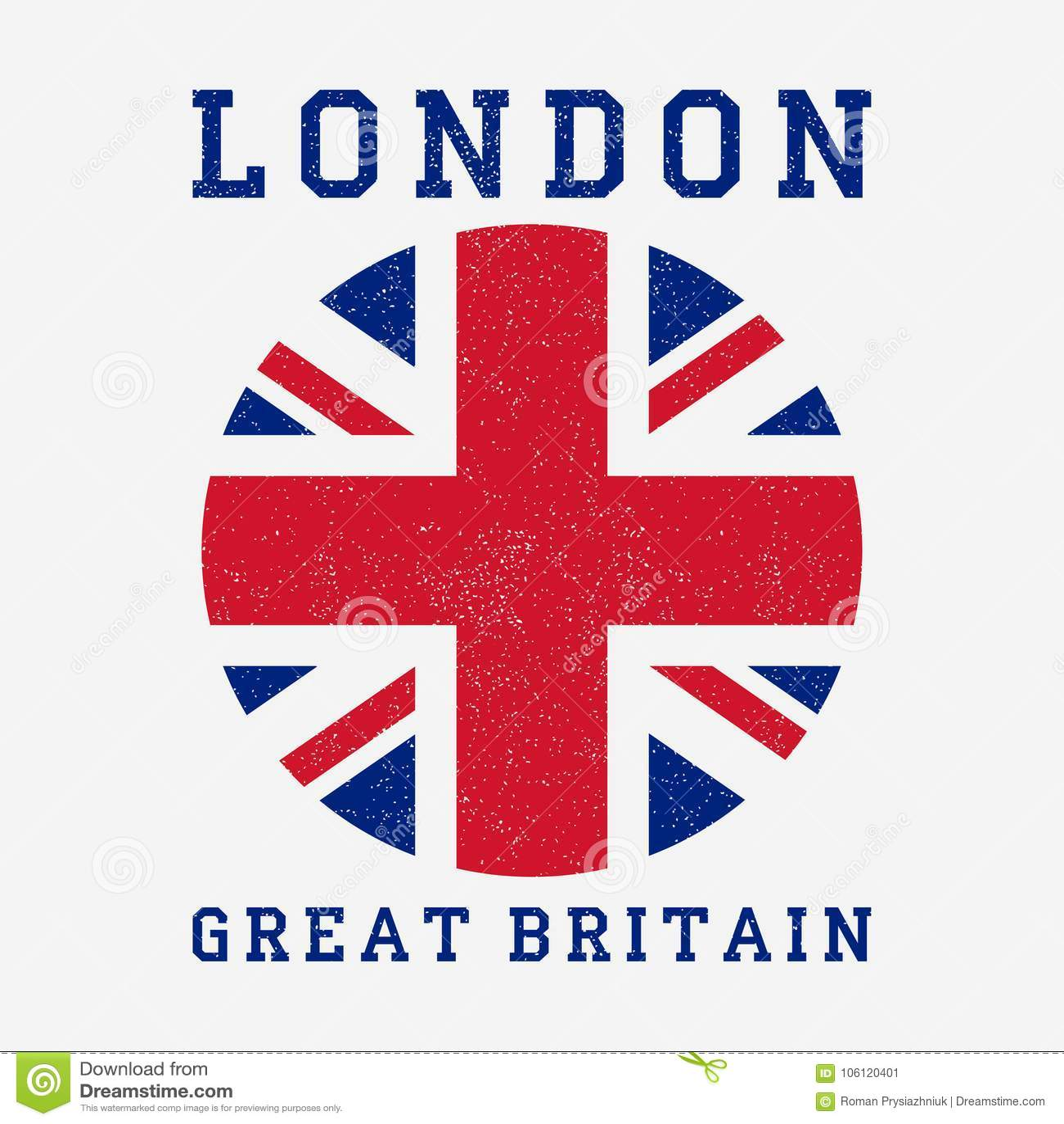Τυπογραφία του Λονδίνου με τη σημαία της Μεγάλης Βρετανίας Τυπωμένη ύλη Grunge για τα ενδύματα σχεδίου, μπλούζα, ενδυμασία διάνυσ