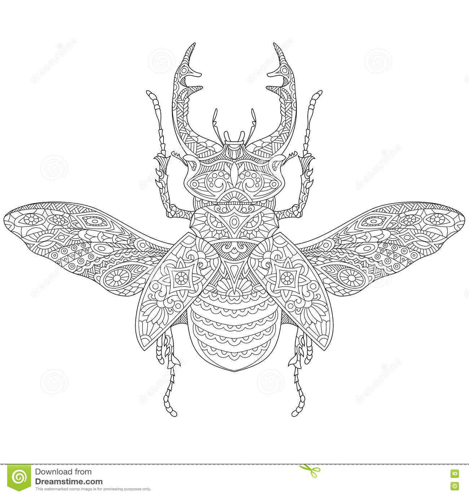 Τυποποιημένος ελάφι-κάνθαρος Zentangle (cervus Lucanus)