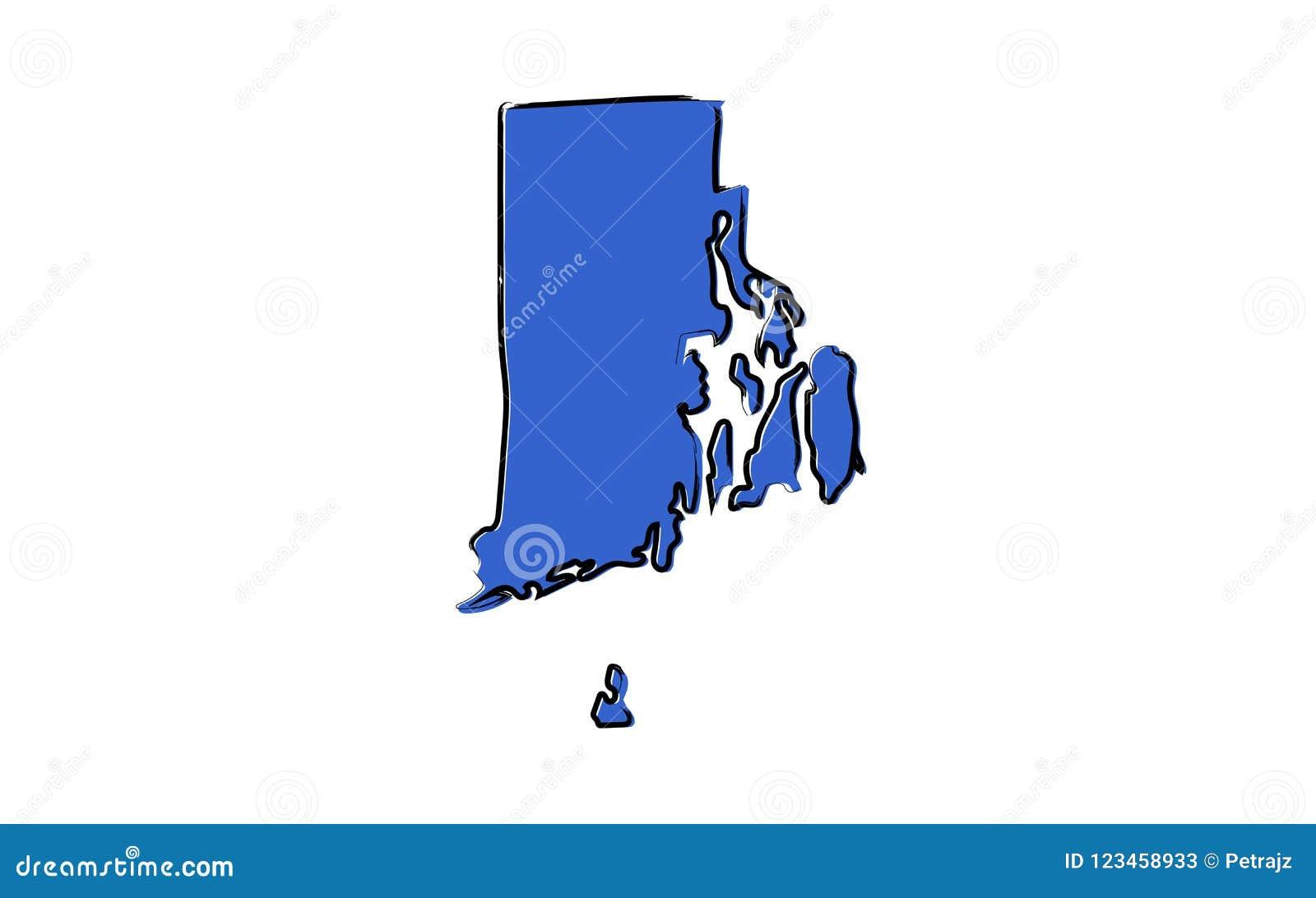 Τυποποιημένος μπλε χάρτης σκίτσων του Ρόουντ Άιλαντ