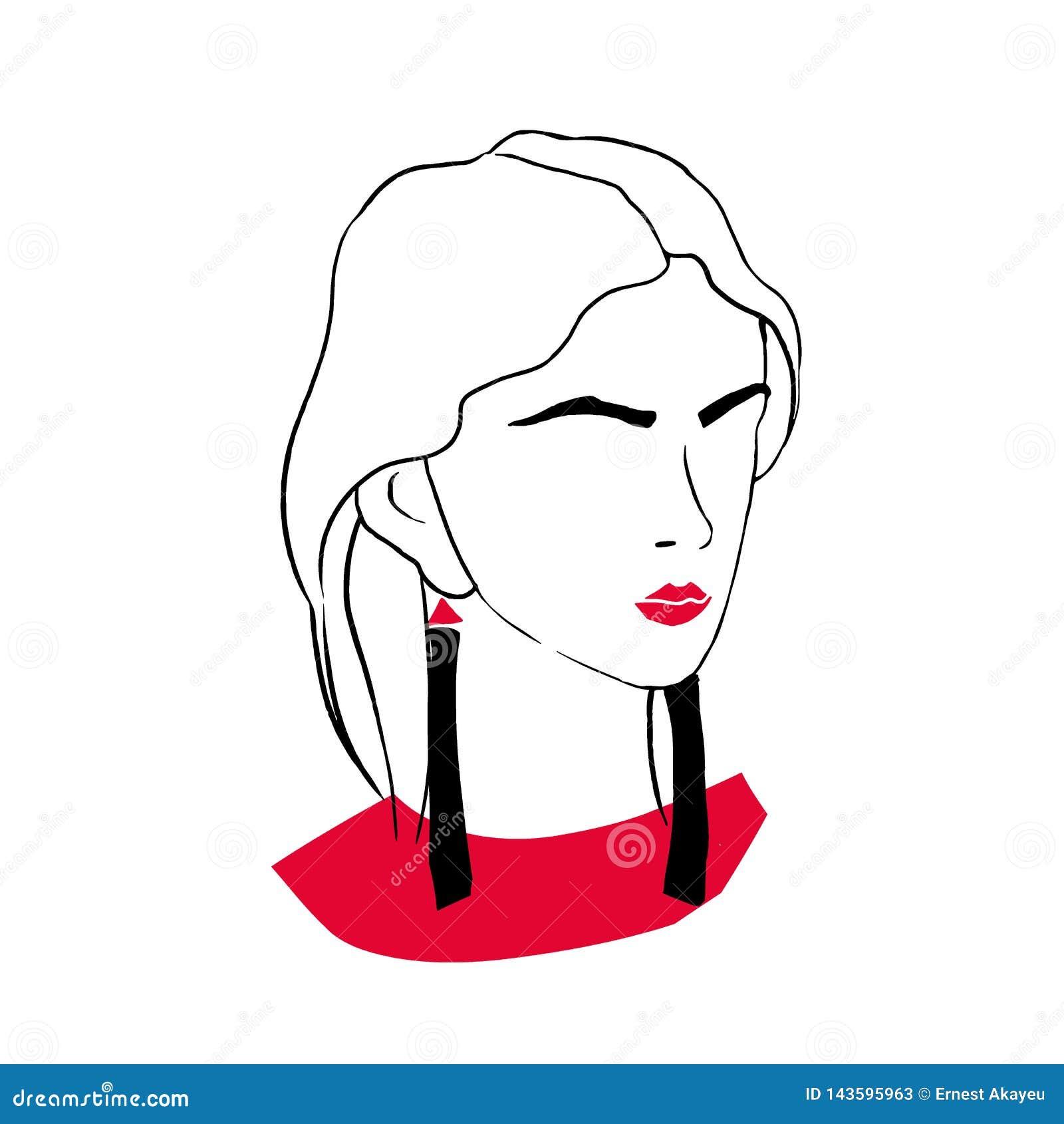 Τυποποιημένο πορτρέτο περιλήψεων της κομψής μοντέρνης νέας κυρίας Σχέδιο της μοντέρνης γυναίκας με τα κόκκινα χείλια, καθιερώνων