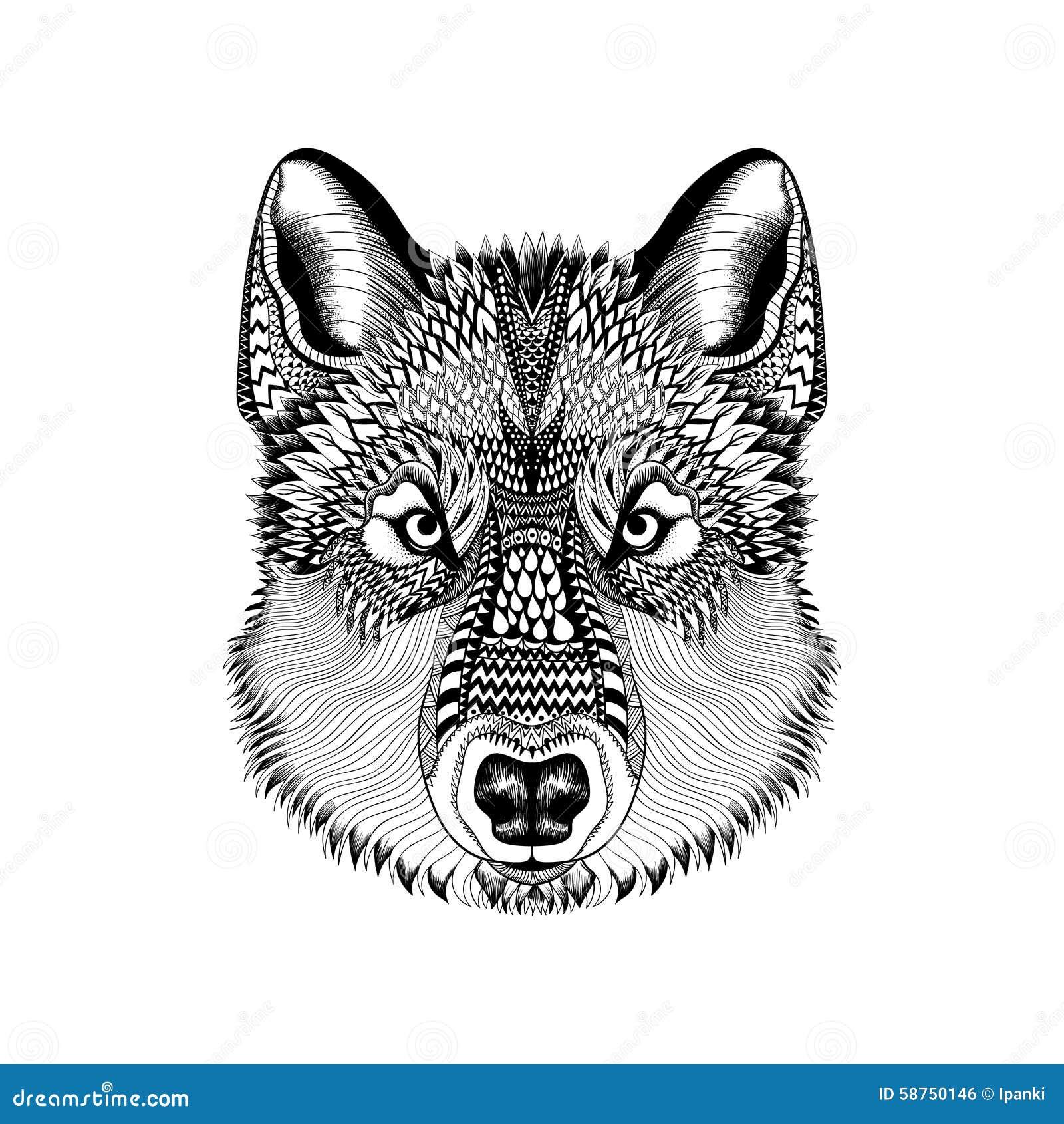 Τυποποιημένο πρόσωπο λύκων Zentangle Συρμένο χέρι διάνυσμα Guata doodle άρρωστο