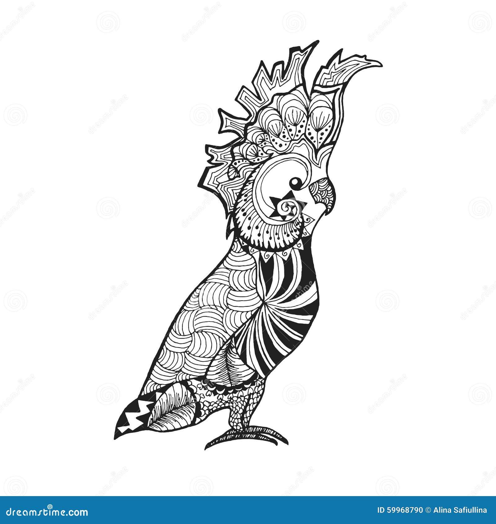 Τυποποιημένο cockatoo Zentangle Σκίτσο για τη δερματοστιξία ή την μπλούζα