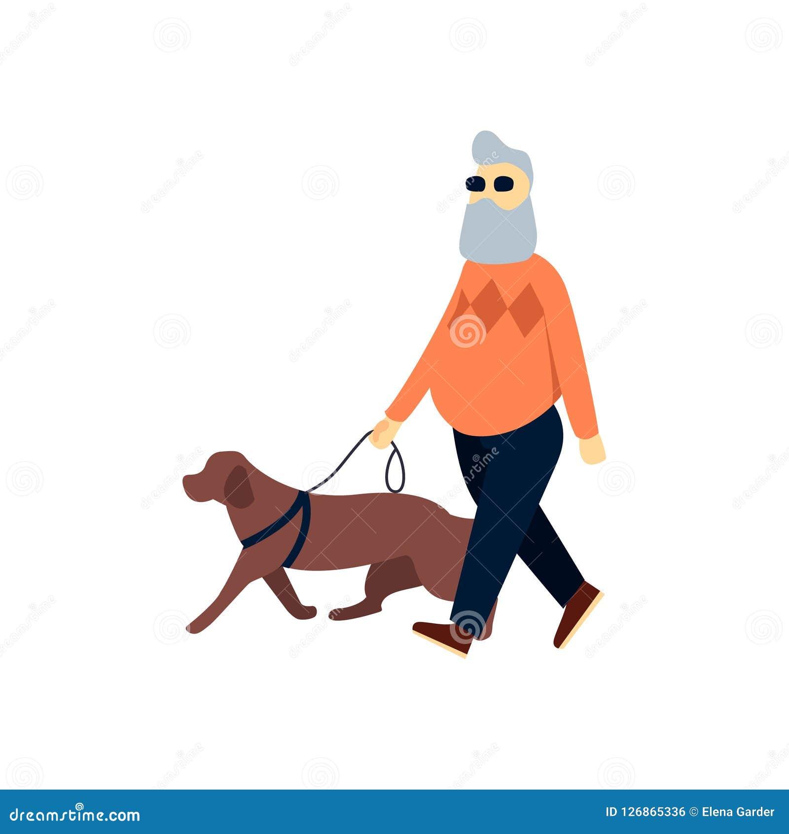 Τυφλός πρεσβύτερος με το σκυλί οδηγών Παλαιά εξασθενισμένη άτομο όραση Ηλικιωμένο πρόσωπο με την τύφλωση στον περίπατο