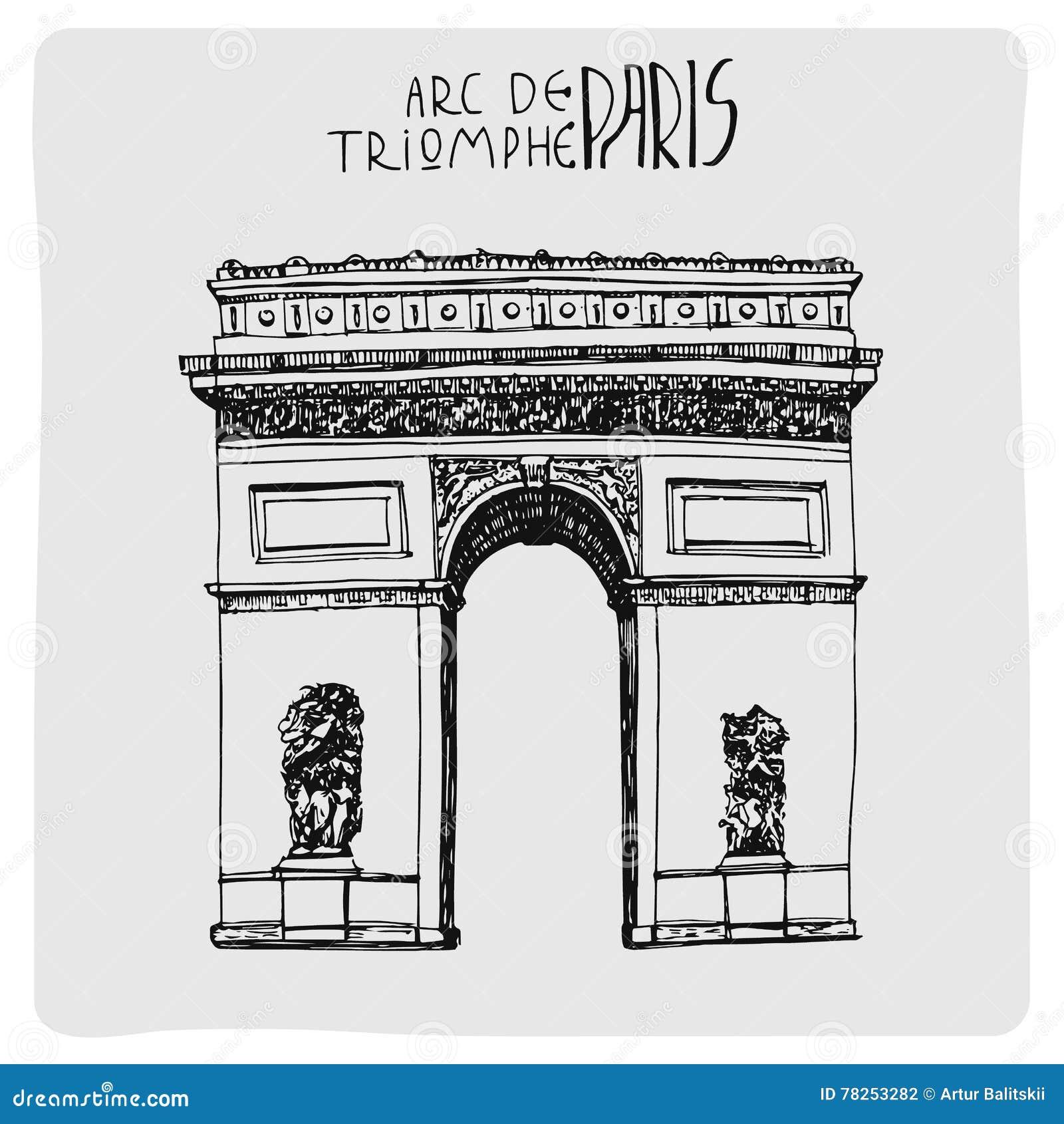 Τόξο de triomphe, συρμένο χέρι διάνυσμα acrh στο Παρίσι, Γαλλία
