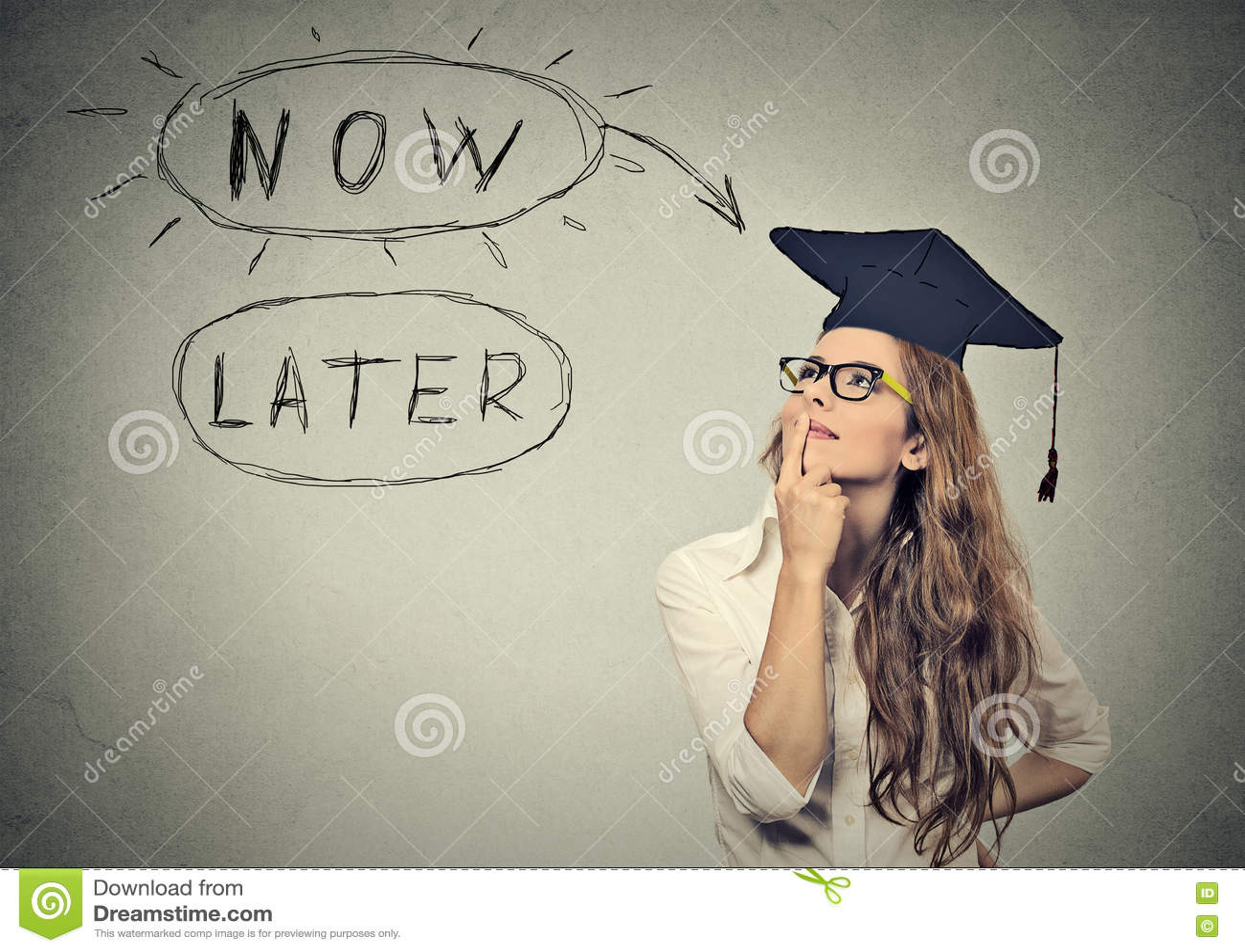 Τώρα ή αργότερα Σπουδαστής γυναικών που σκέφτεται να ανατρέξει