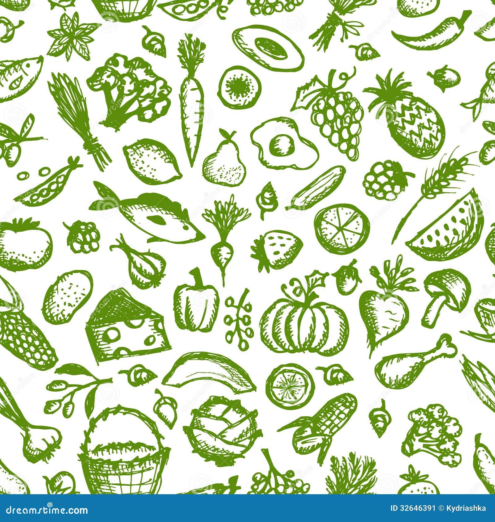 Υγιές άνευ ραφής σχέδιο τροφίμων, σκίτσο για το σας