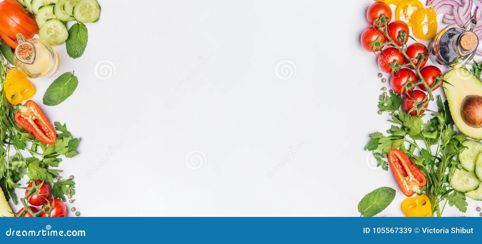 Υγιές καθαρό σχεδιάγραμμα κατανάλωσης, χορτοφάγα τρόφιμα και έννοια διατροφής διατροφής Διάφορα συστατικά φρέσκων λαχανικών για τ