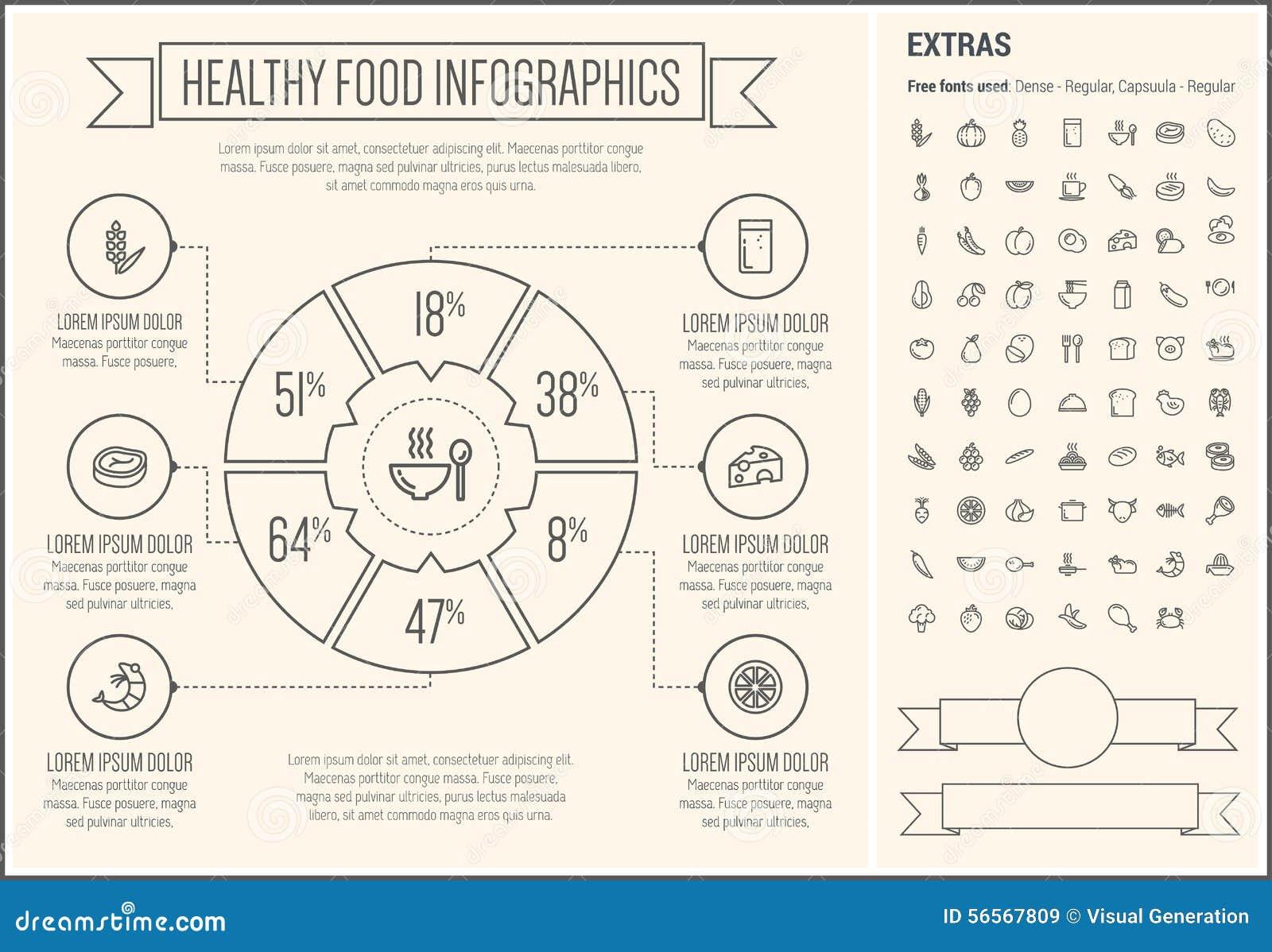 Download Υγιές πρότυπο Infographic σχεδίου γραμμών τροφίμων Διανυσματική απεικόνιση - εικονογραφία από γραμμή, κατανάλωση: 56567809