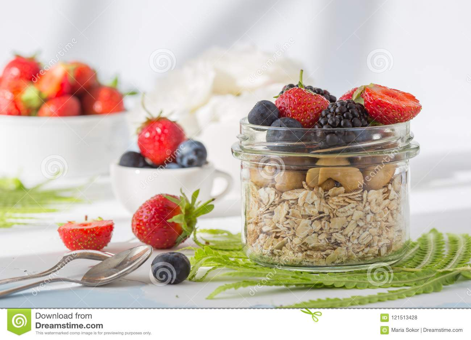 Υγιής έννοια δημητριακών τροφίμων προγευμάτων έξοχη με τους νωπούς καρπούς, το granola, το γιαούρτι, τα καρύδια και το σιτάρι γύρ
