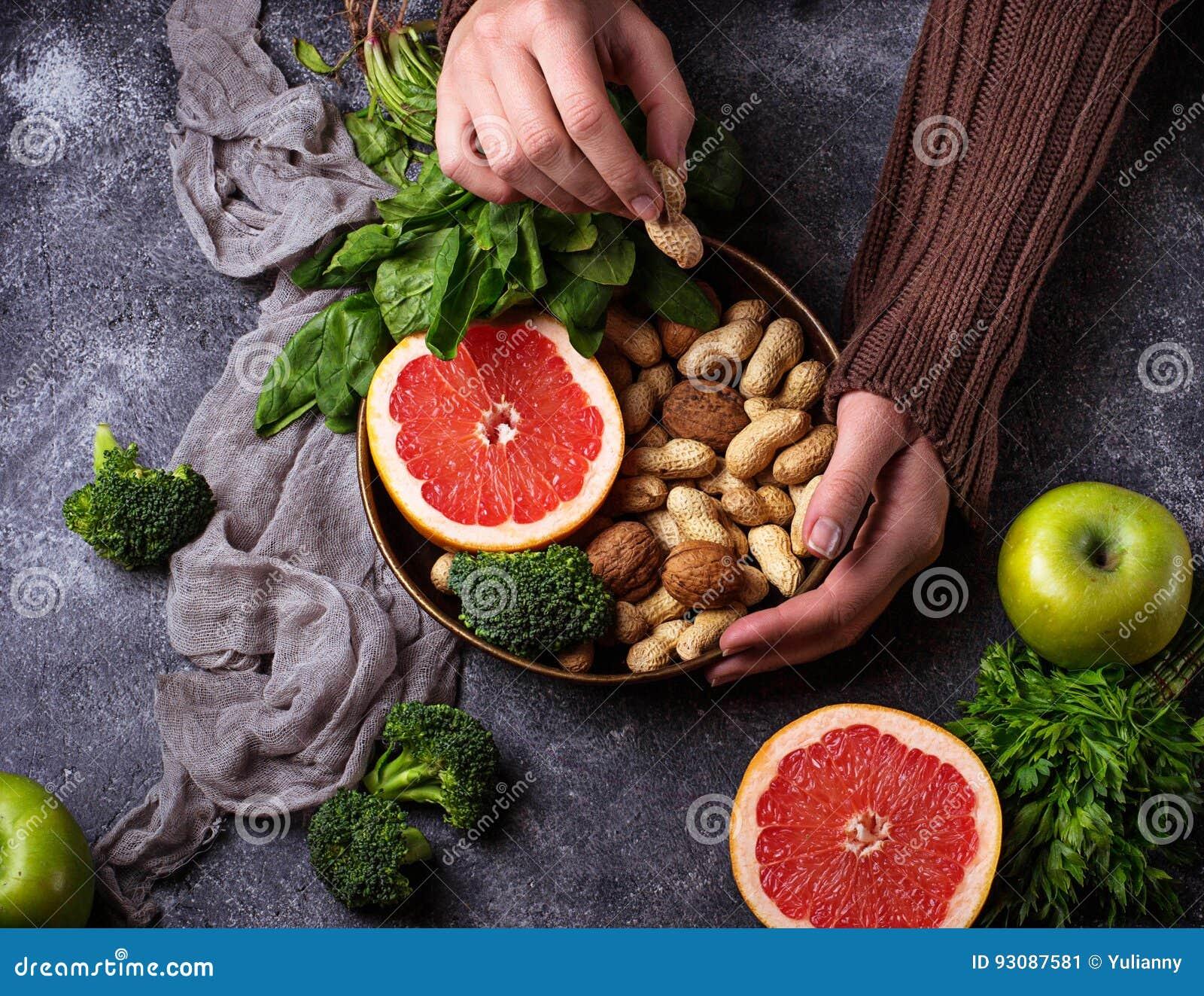 υγιής χορτοφάγος τροφίμων Καθαρή κατανάλωση και ακατέργαστη έννοια διατροφής