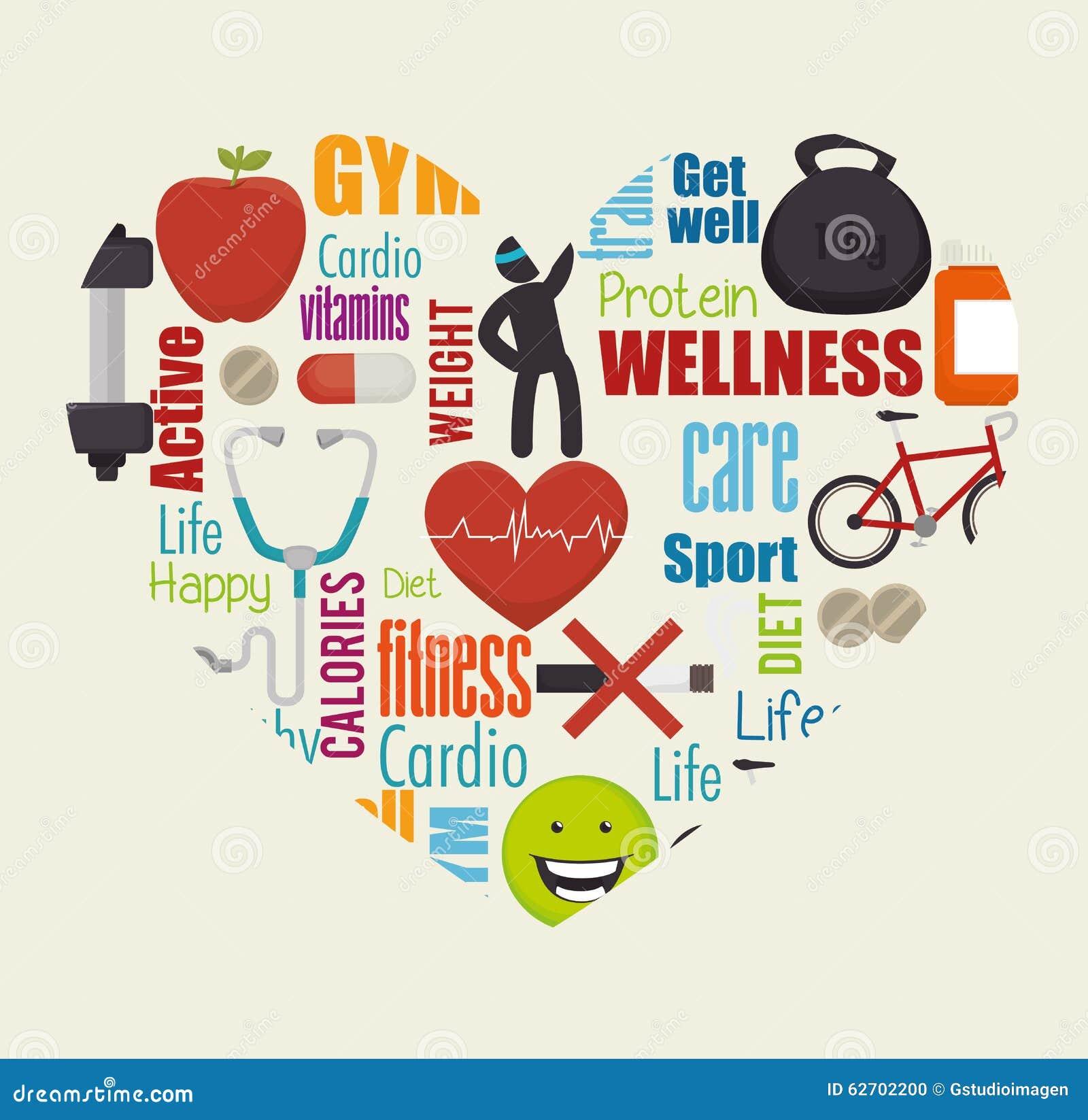 Υγιή εικονίδια τρόπου ζωής Wellness