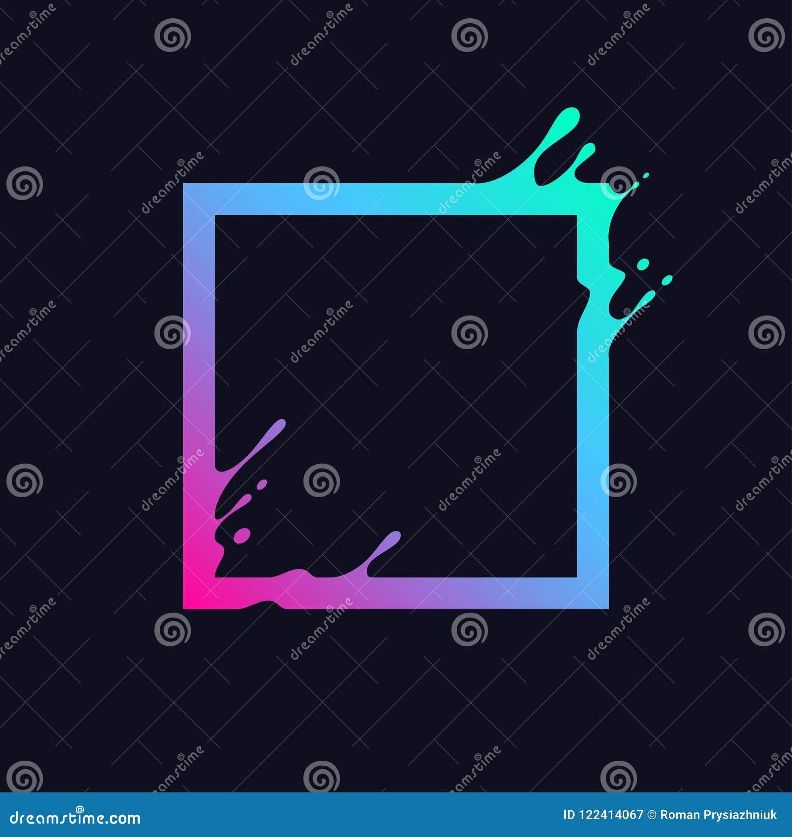 Υγρό ζωηρόχρωμο τετράγωνο Αφηρημένη μορφή ορθογωνίων κλίσης με τον παφλασμό και τις πτώσεις Σχέδιο επίδρασης ροής για το λογότυπο