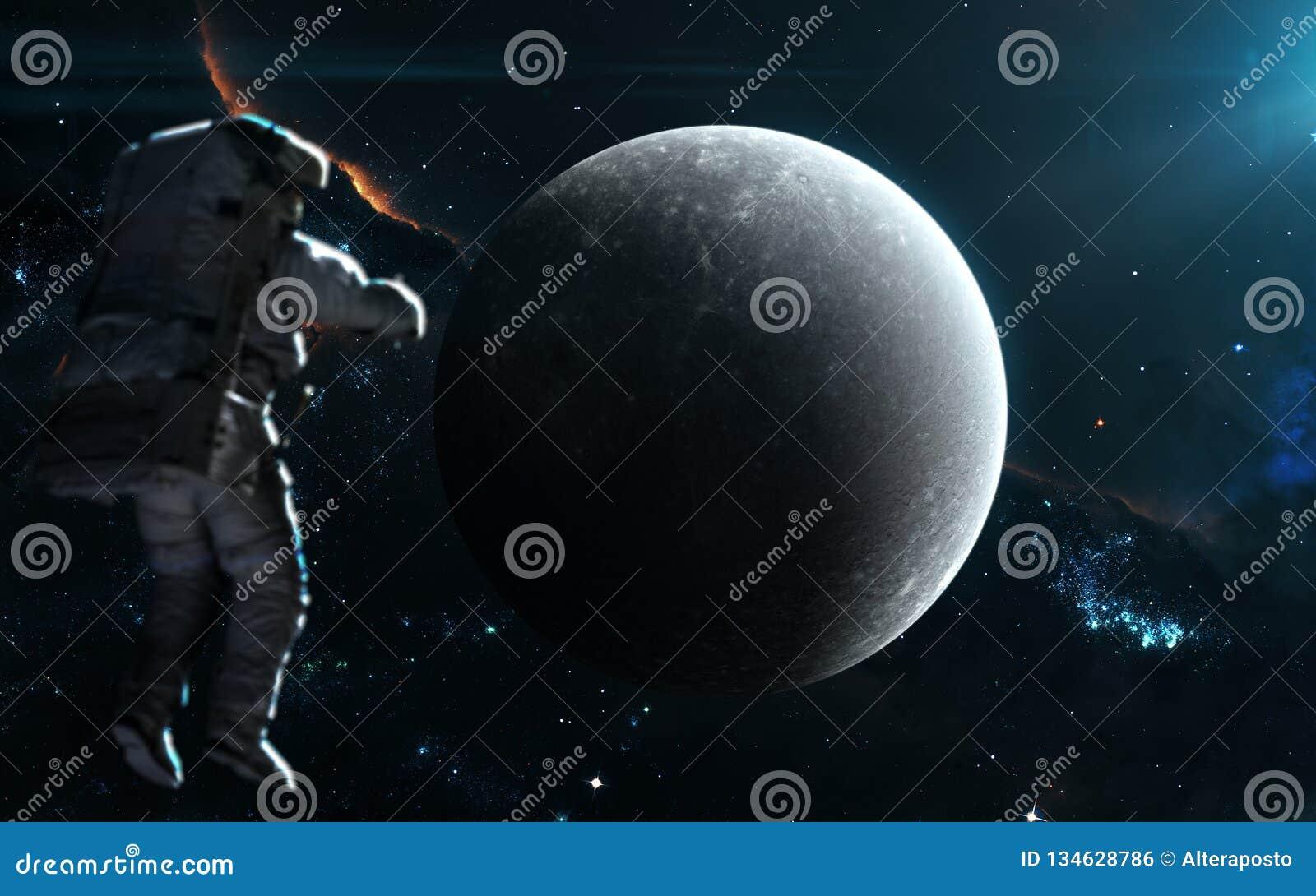 Υδράργυρος πλανητών στο μπλε φως ηλιακό σύστημα Αφροδίτη μονοπατιών υδραργύρου γήινης εστίασης ψαλιδίσματος Τέχνη επιστημονικής φ