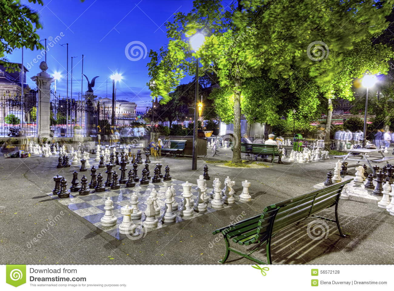 Download Υπαίθριο Chessgame, πάρκο προμαχώνων, Γενεύη Στοκ Εικόνες - εικόνα από ελβετικά, παιχνίδι: 56572128