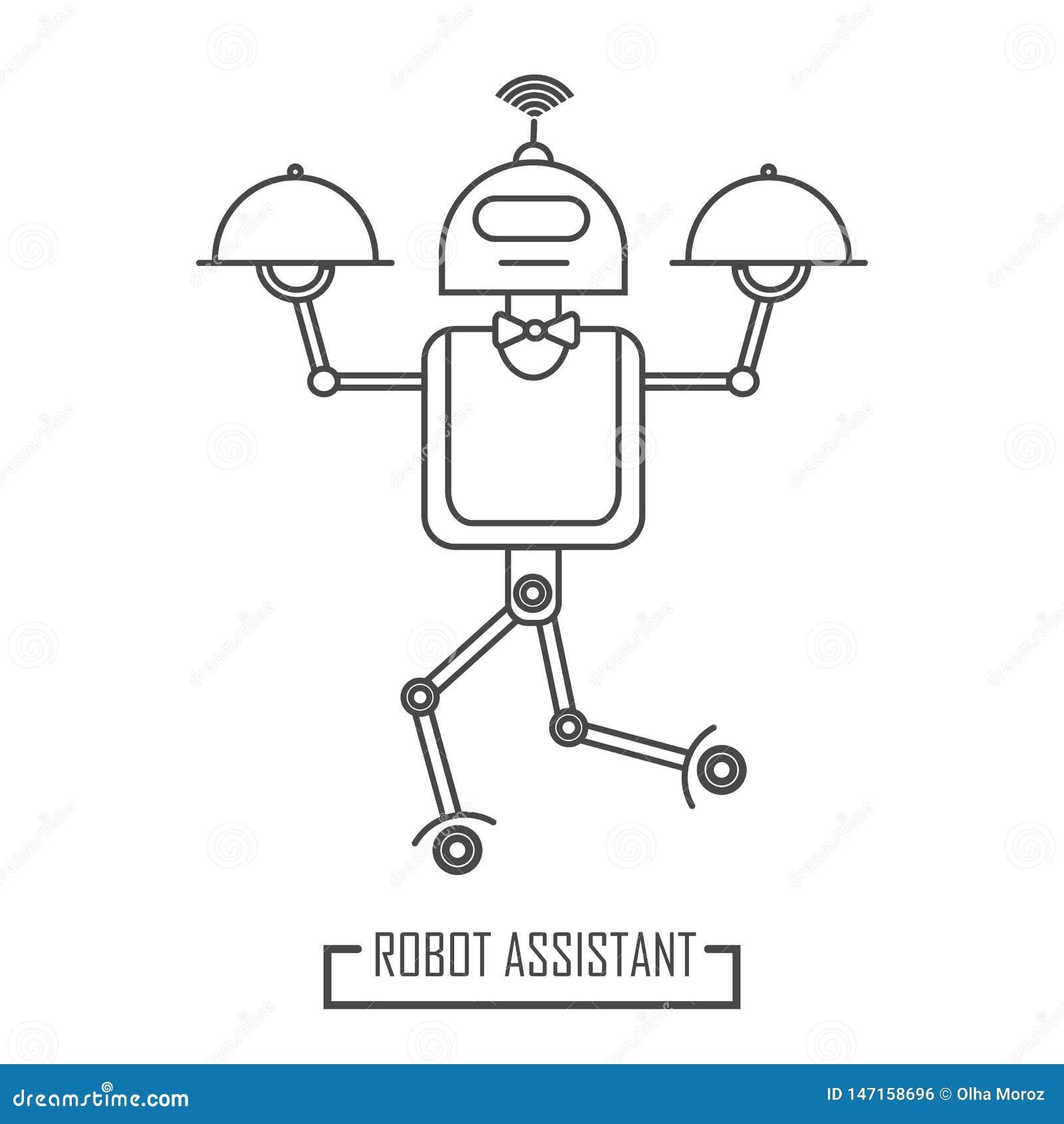 Υπηρεσία δωματίων ρομπότ στο εστιατόριο Σύγχρονη γραμμή