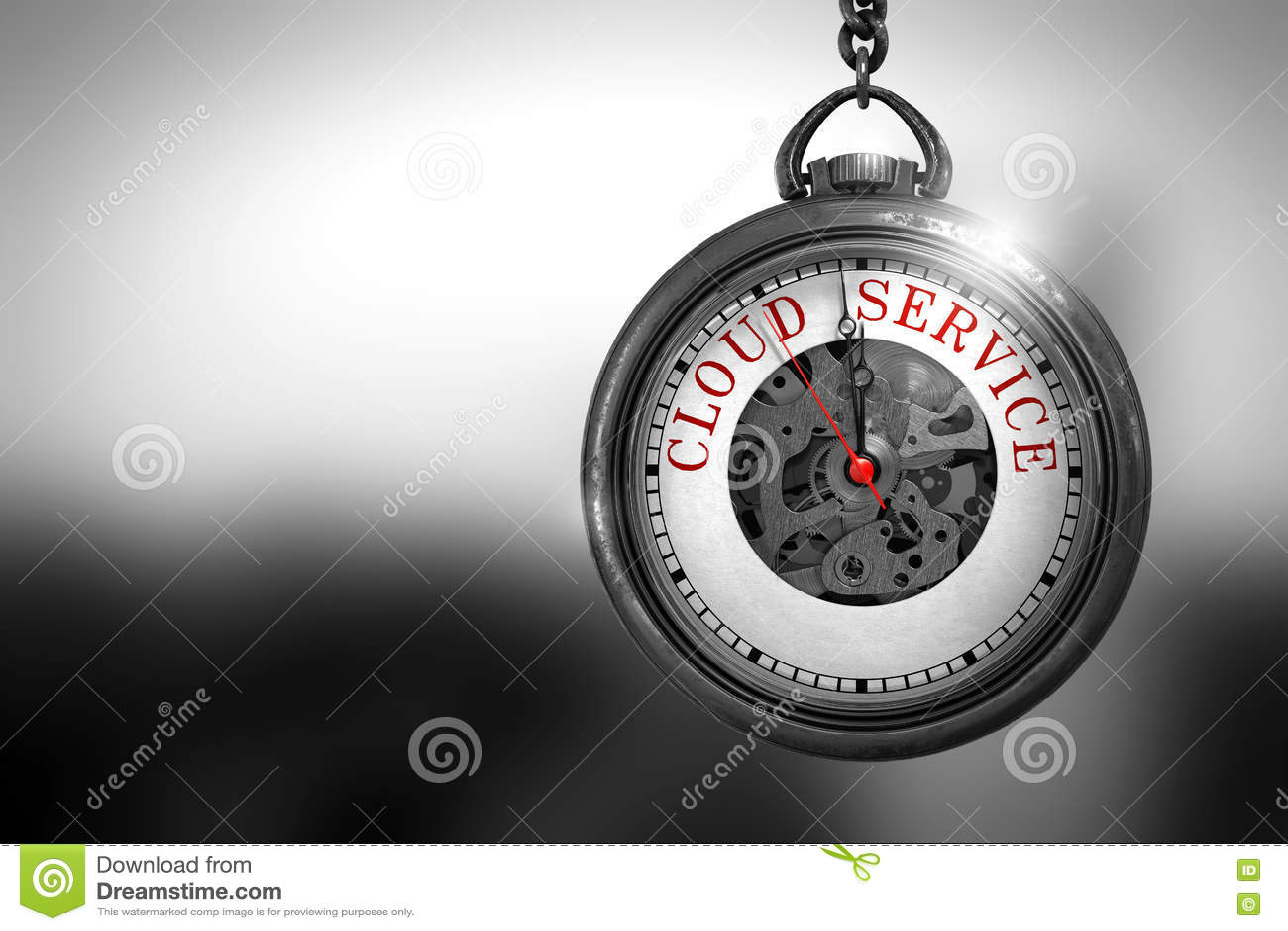 Υπηρεσία σύννεφων στο εκλεκτής ποιότητας ρολόι τσεπών τρισδιάστατη απεικόνιση