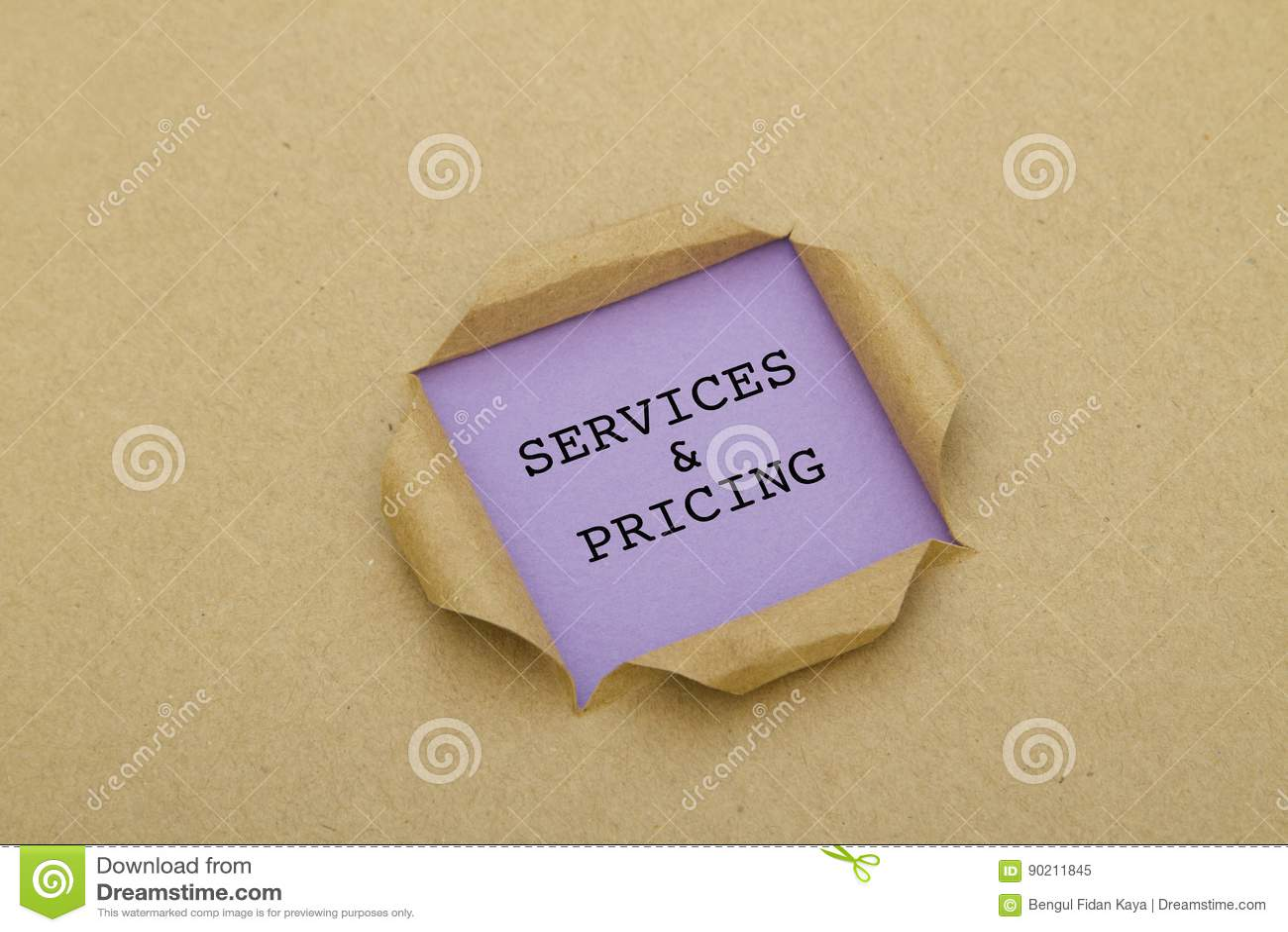 Υπηρεσίες και τιμολόγηση που γράφονται στο πλαίσιο του σχισμένου εγγράφου