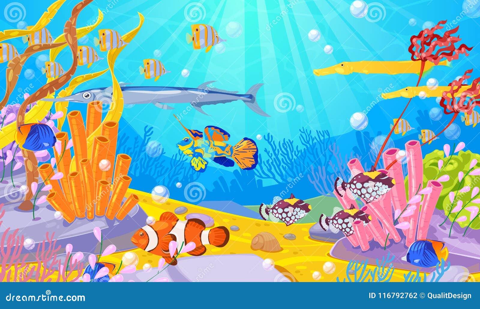 Υποβρύχια θαλάσσια ζωή, διανυσματική απεικόνιση κινούμενων σχεδίων Ωκεανός ή πυθμένας της θάλασσας με τα ζωηρόχρωμα ψάρια, τις κο
