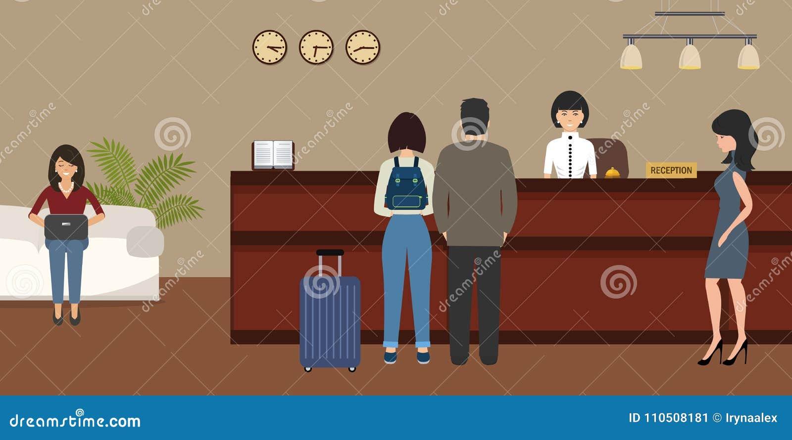 Υποδοχή ξενοδοχείων Ταξίδι, φιλοξενία, έννοια κράτησης ξενοδοχείων