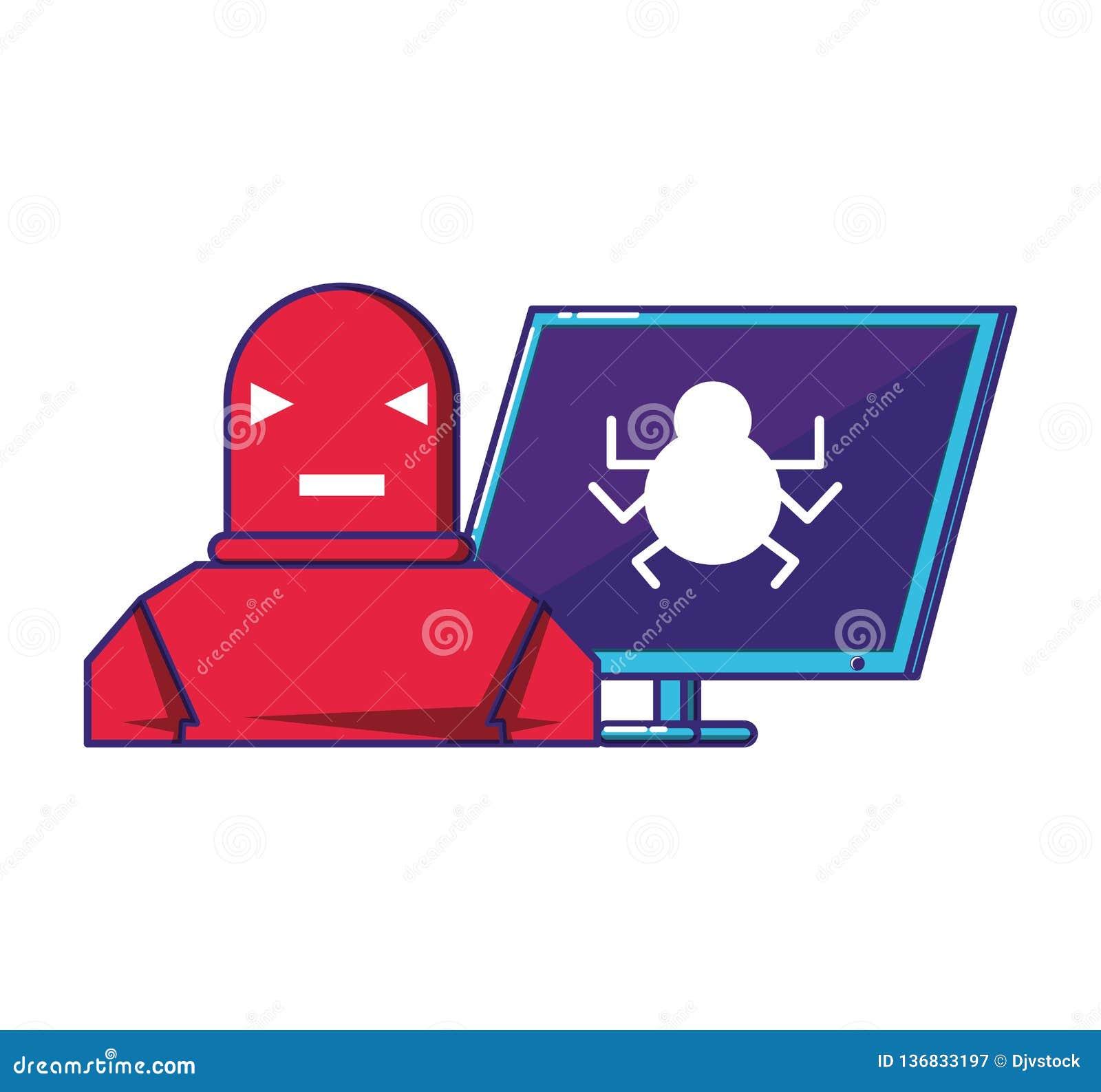 Υπολογιστής γραφείου με το ρομπότ