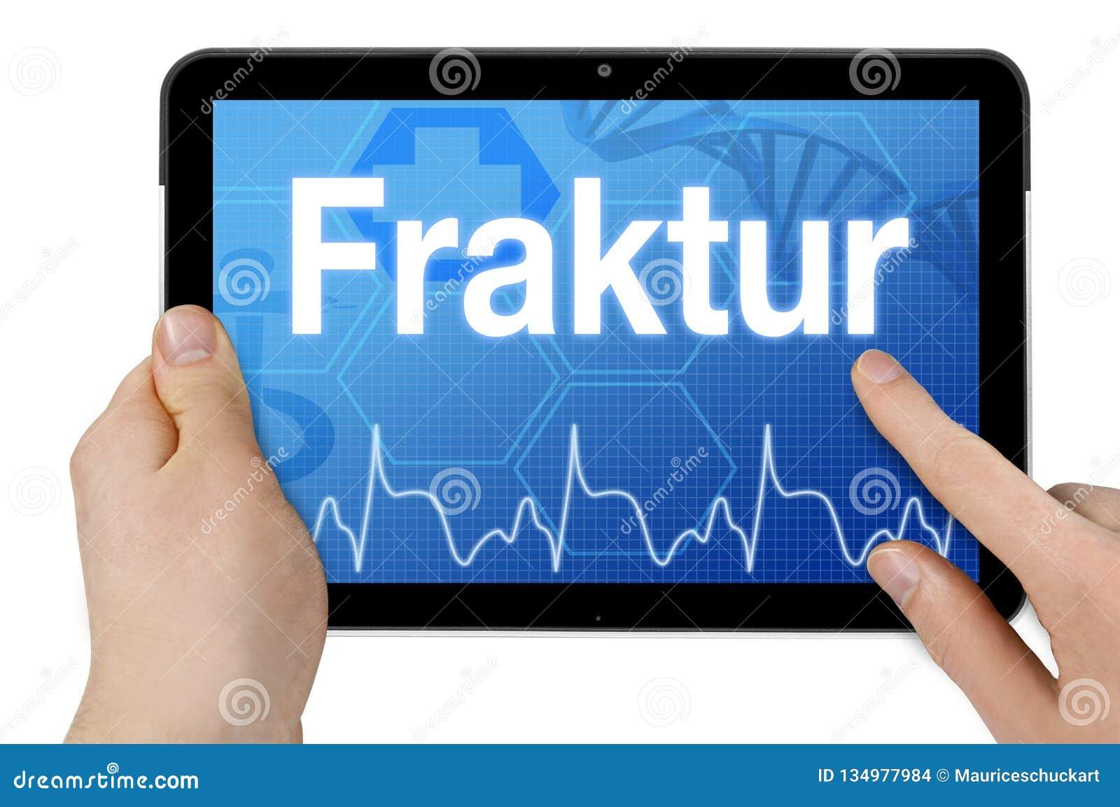 Υπολογιστής ταμπλετών με τη γερμανική λέξη για το σπάσιμο - Fraktur