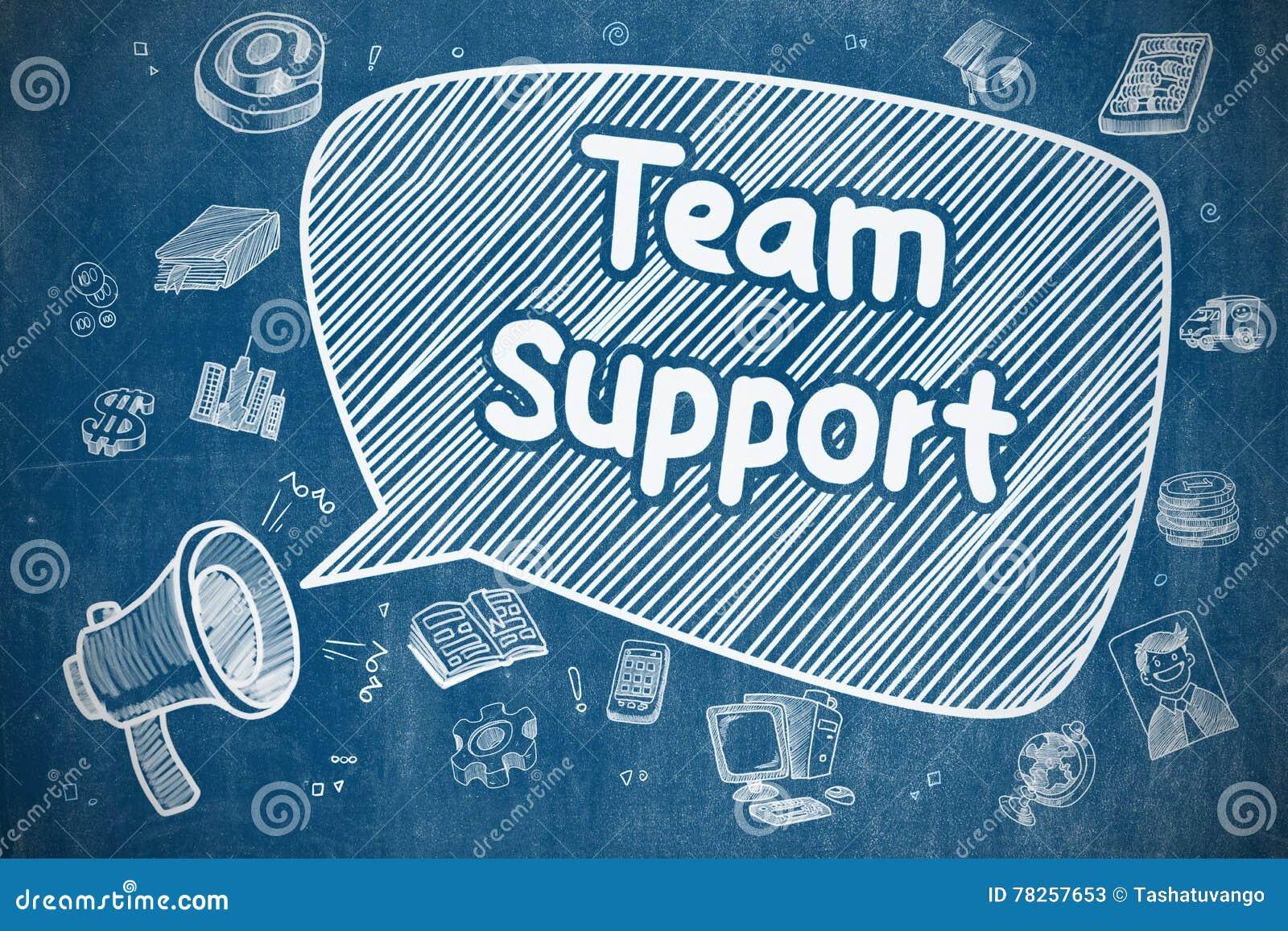 Υποστήριξη ομάδας - απεικόνιση κινούμενων σχεδίων στον μπλε πίνακα κιμωλίας