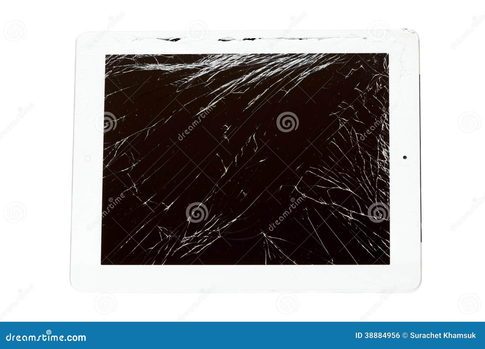 Υπολογιστής ταμπλετών με τη σπασμένη οθόνη γυαλιού