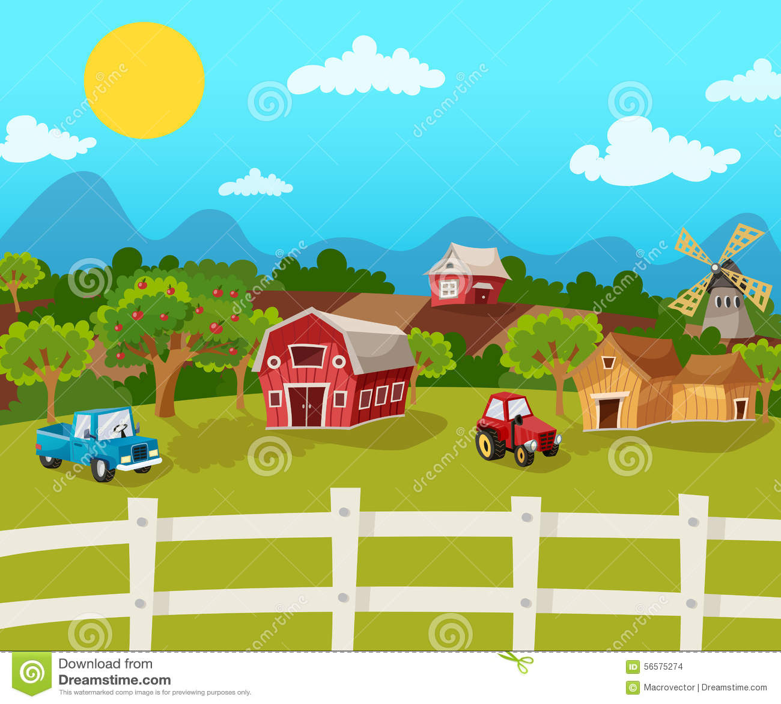 Υπόβαθρο αγροτικών κινούμενων σχεδίων