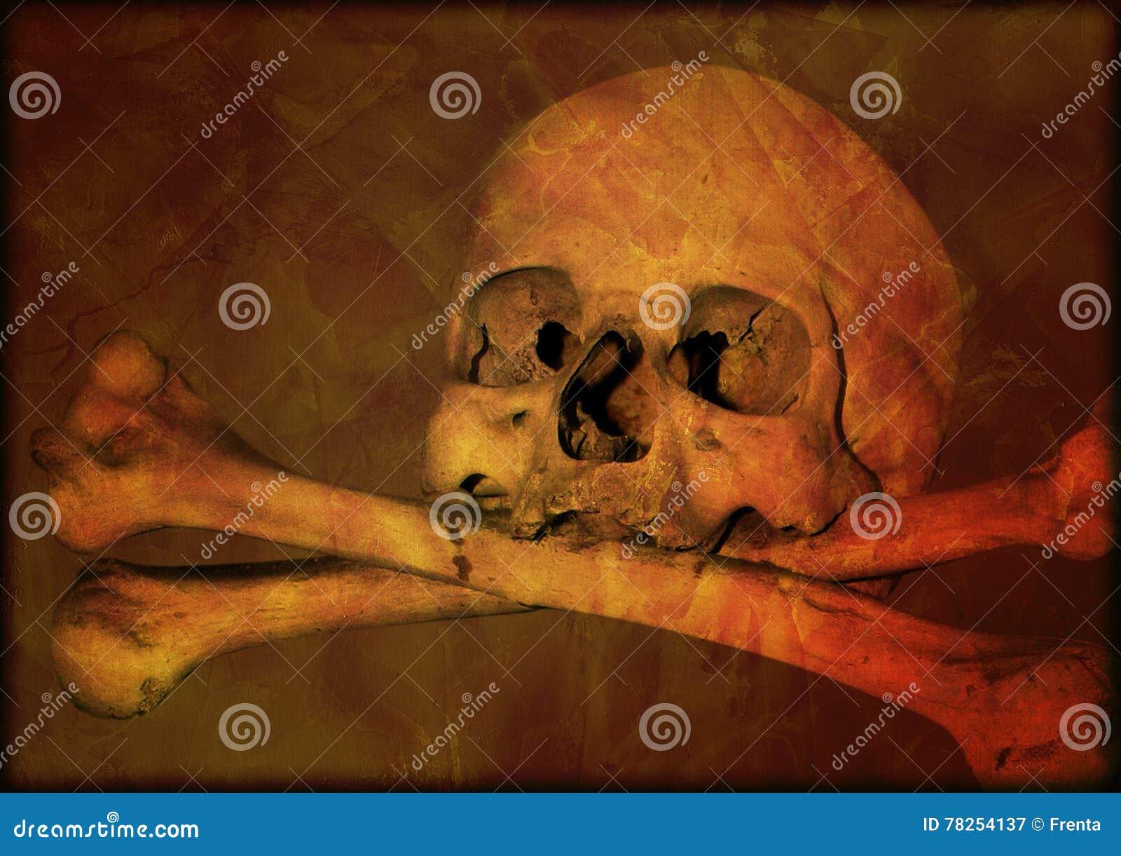 Υπόβαθρο αποκριών Grunge με το ανθρώπινο κρανίο