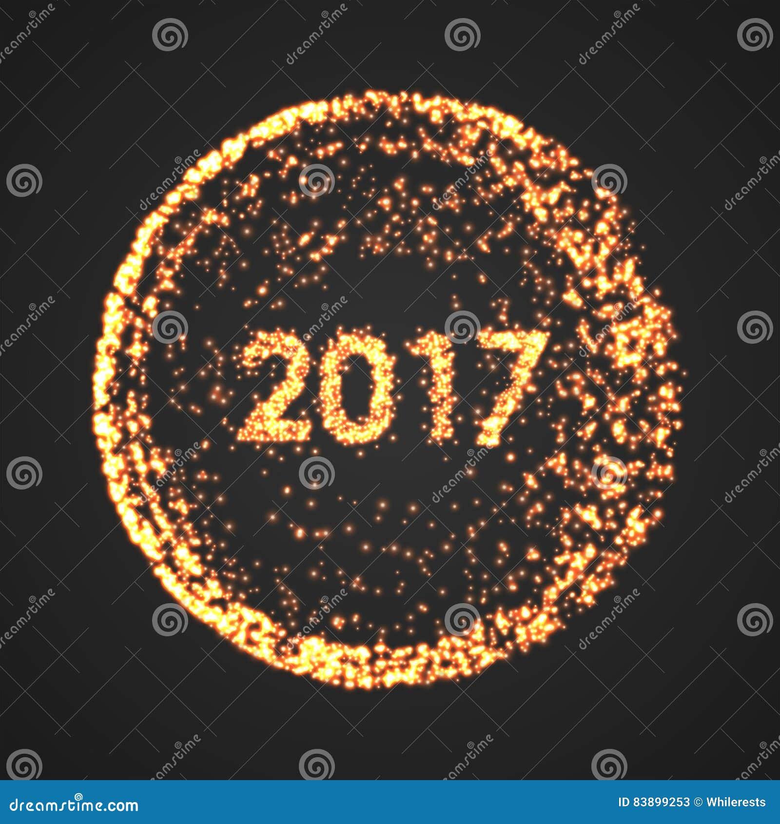 Υπόβαθρο καλής χρονιάς 2017 Ημερολογιακή διακόσμηση χαιρετισμός καλή χρονιά καρτών του 2007 Μόριο γύρω από την απεικόνιση