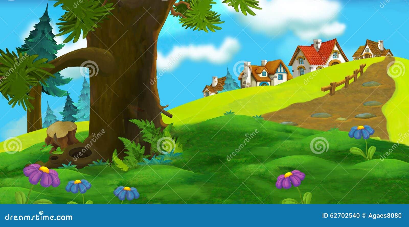 Υπόβαθρο κινούμενων σχεδίων του παλαιού χωριού