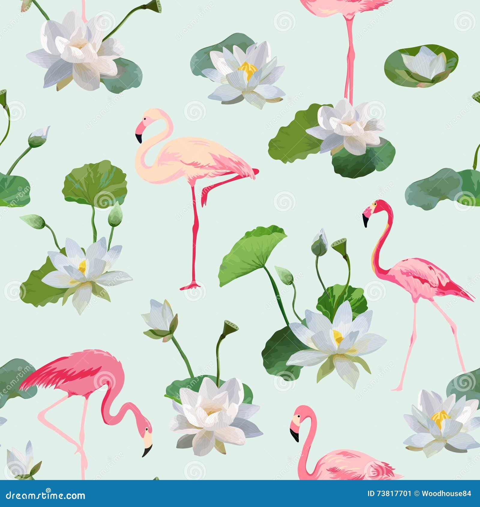 Υπόβαθρο λουλουδιών πουλιών και Waterlily φλαμίγκο αναδρομικός άνευ ραφής προτύπων