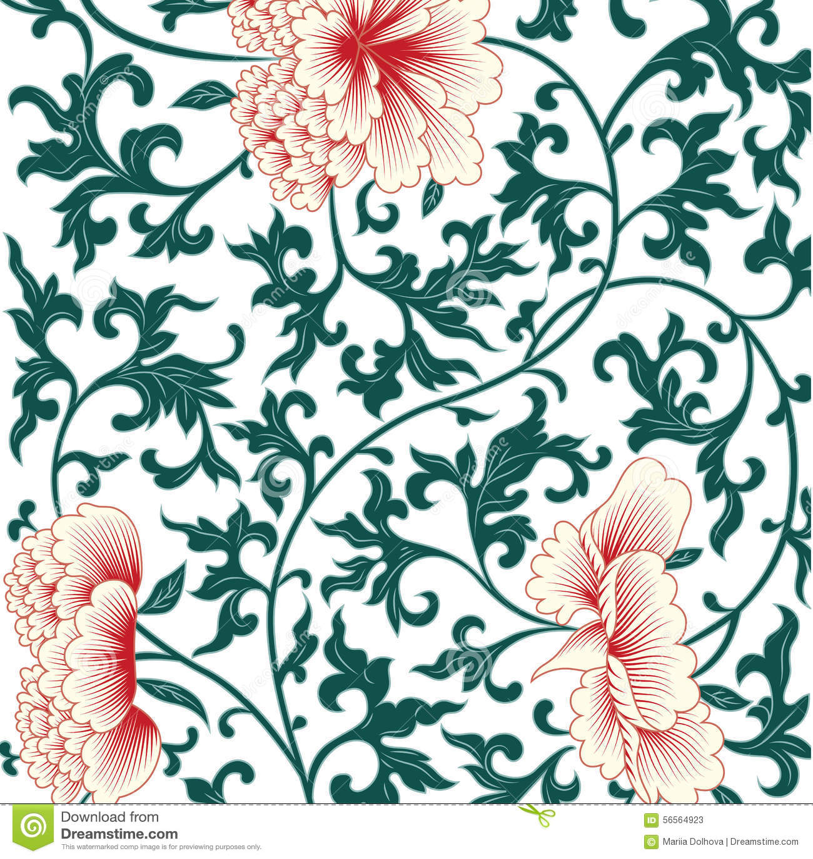 Download Υπόβαθρο λουλουδιών στο κινεζικό ύφος Διανυσματική απεικόνιση - εικονογραφία από floral, ανασκόπησης: 56564923
