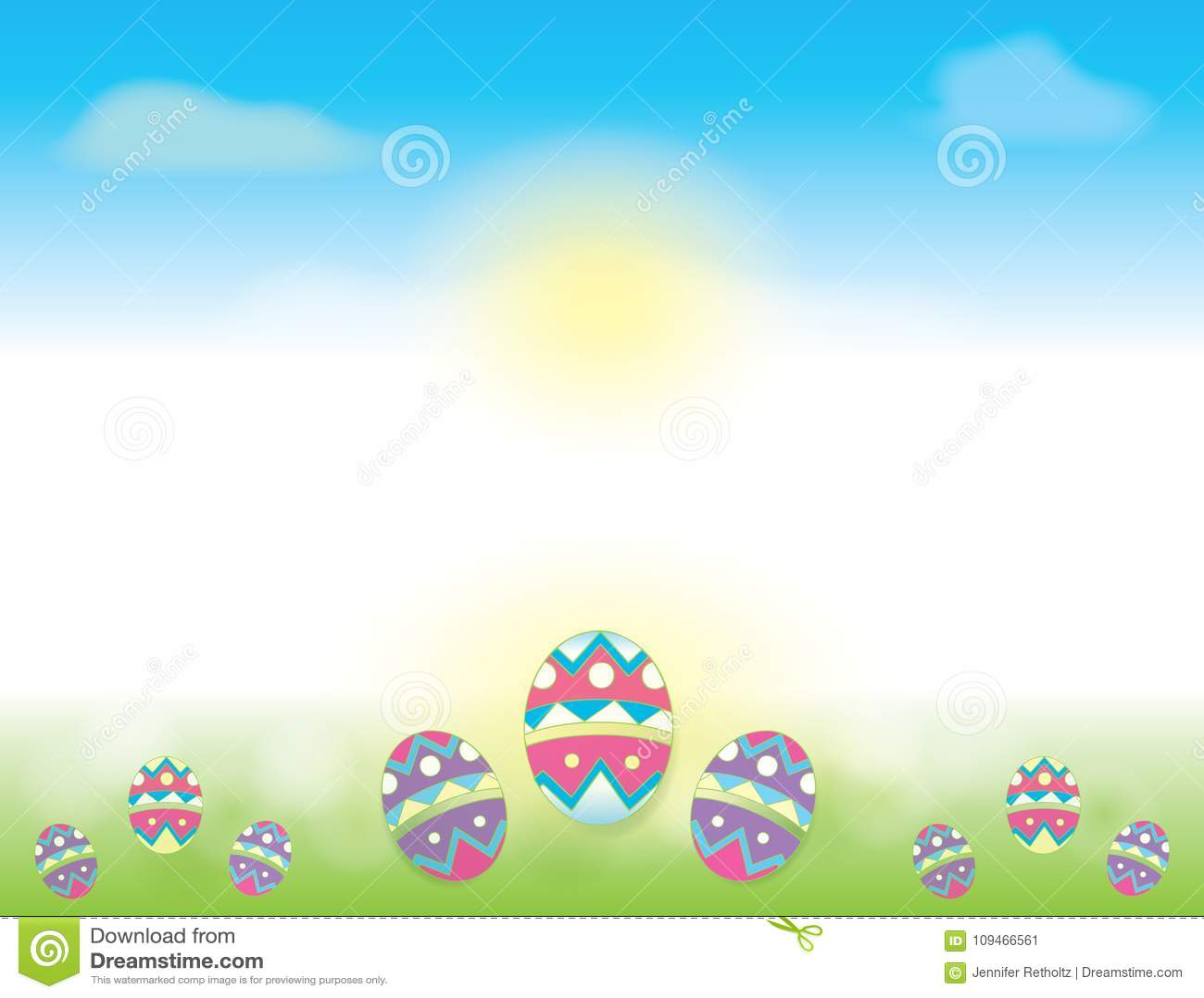 Υπόβαθρο Πάσχας με τους μπλε ουρανούς και τα αυγά Πάσχας που διακοσμούνται στην πράσινη χλόη