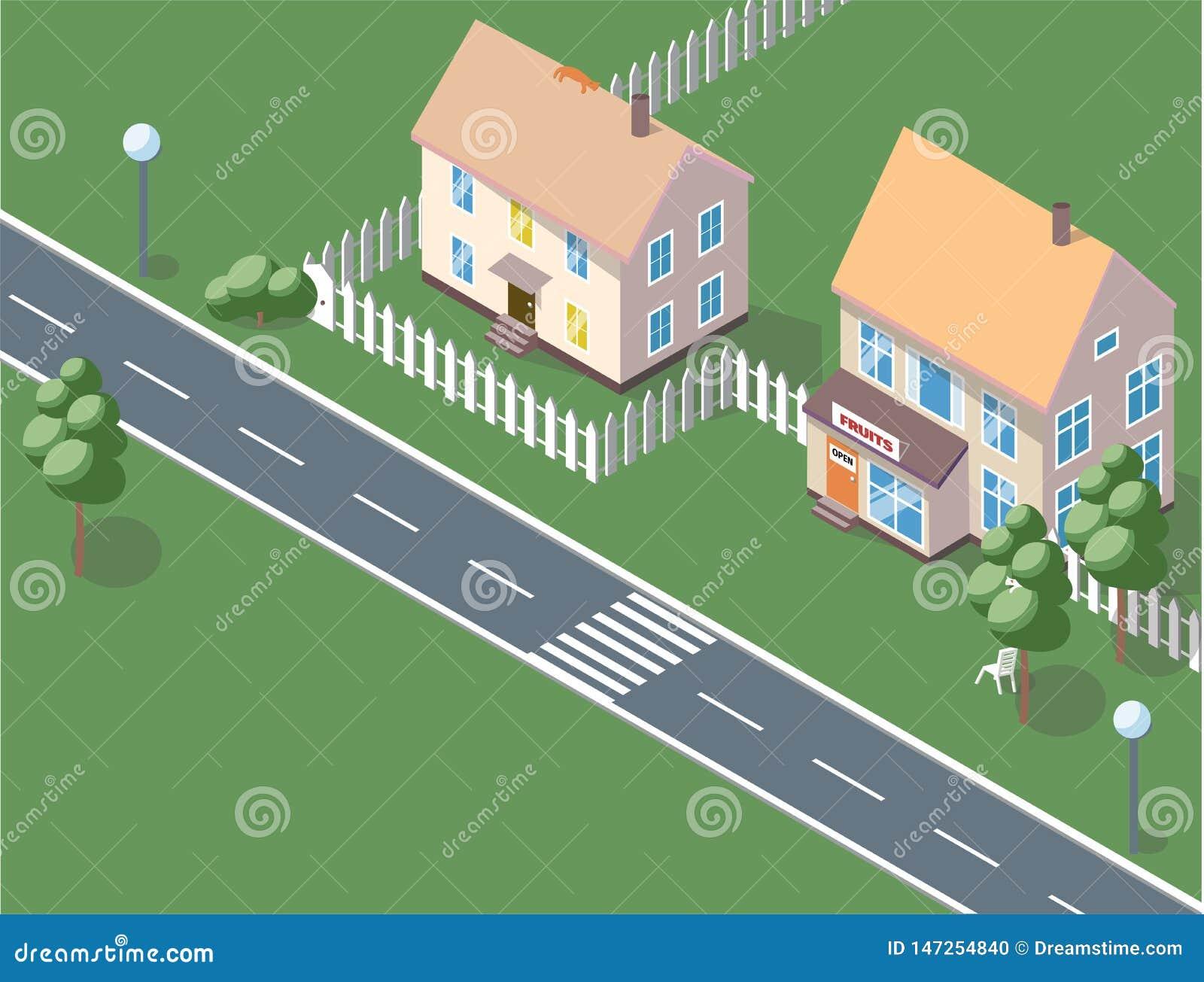 Υπόβαθρο πόλεων - σύγχρονη επίπεδη διανυσματική απεικόνιση ύφους σχεδίου στο άσπρο υπόβαθρο Καλή κατοικία σύνθετη με μικρό