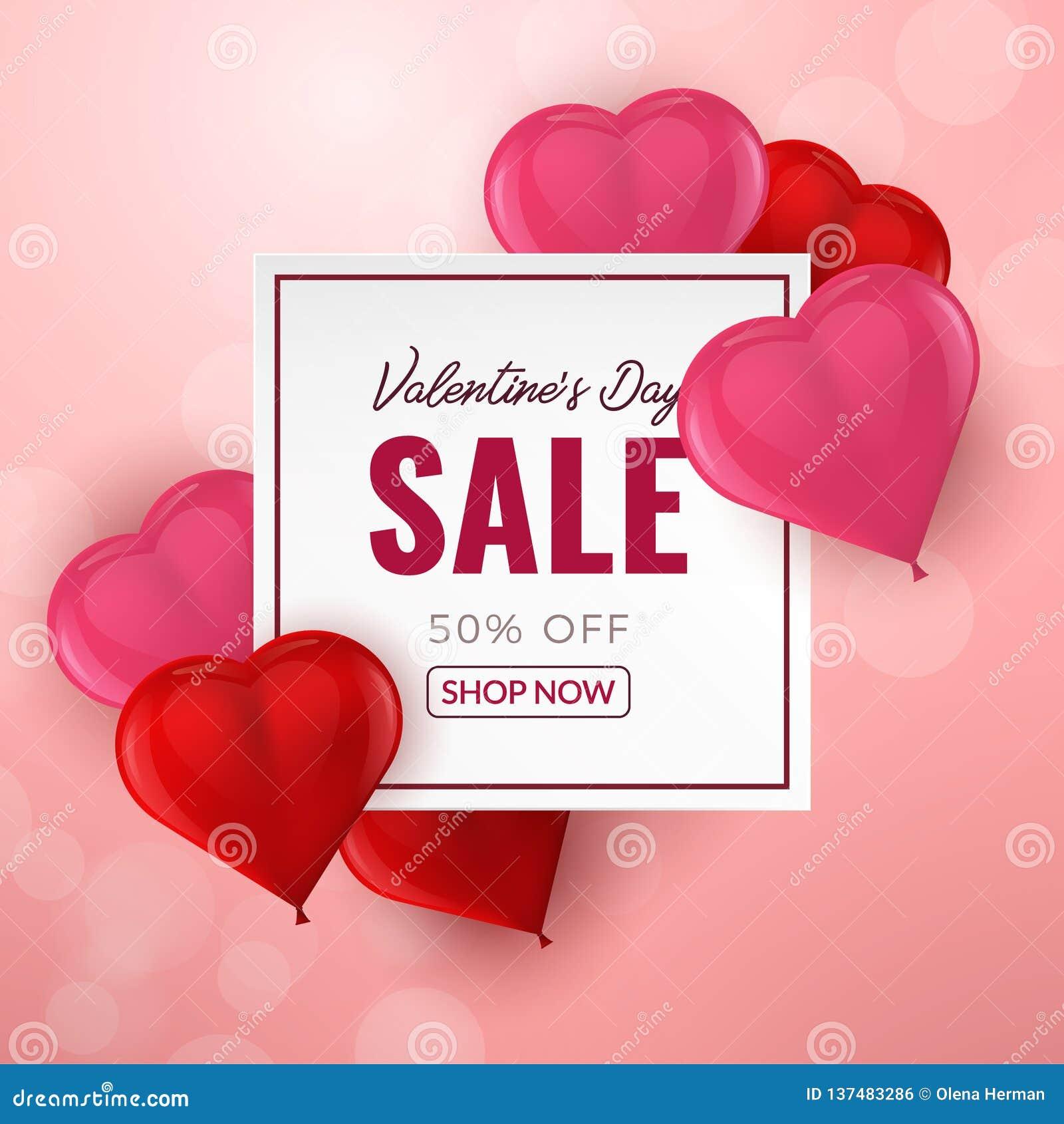 Υπόβαθρο πώλησης ημέρας βαλεντίνων με τα κόκκινα και ρόδινα τρισδιάστατα διαμορφωμένα καρδιά μπαλόνια επίσης corel σύρετε το διάν