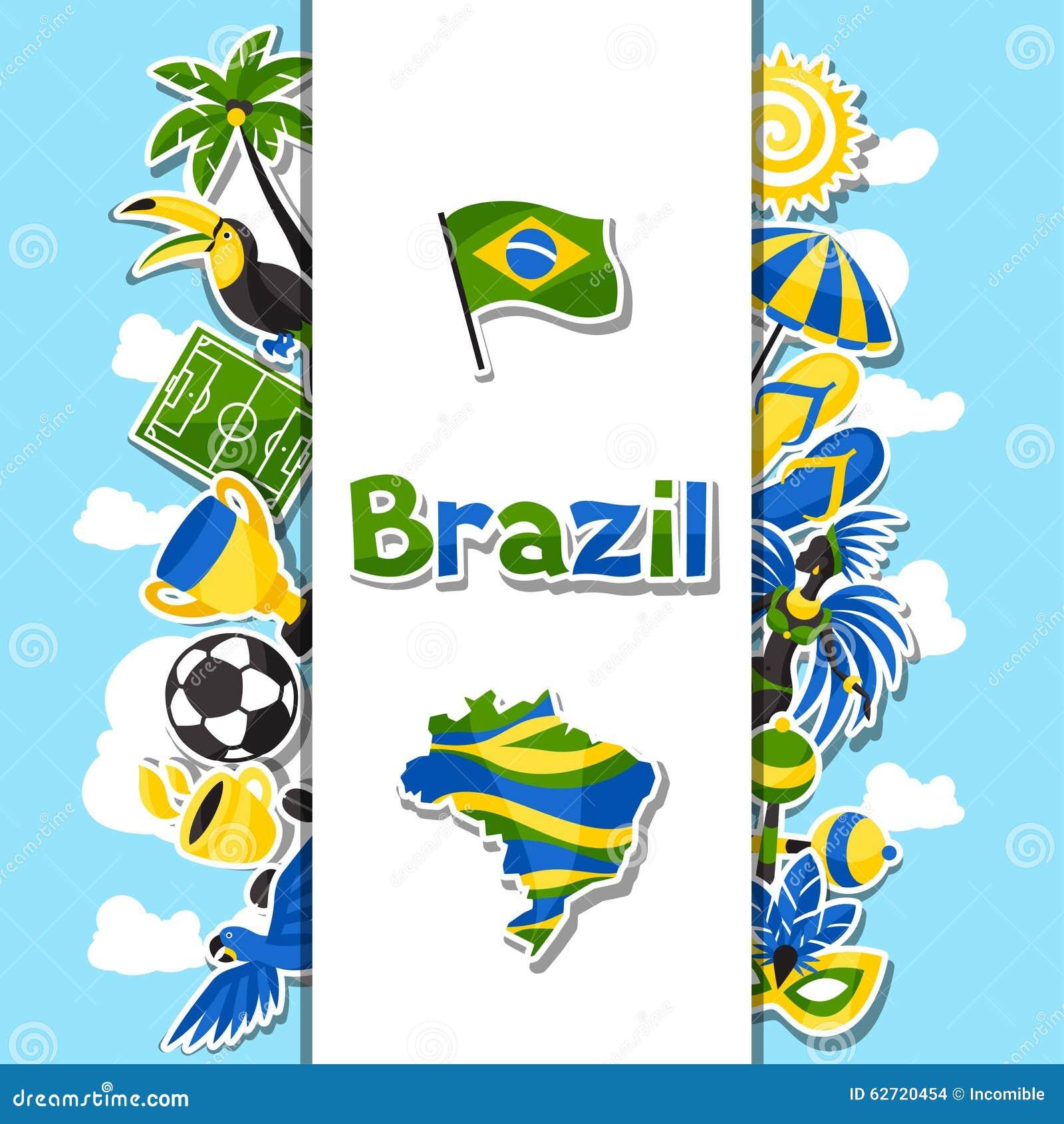 Υπόβαθρο της Βραζιλίας με τα αντικείμενα αυτοκόλλητων ετικεττών και
