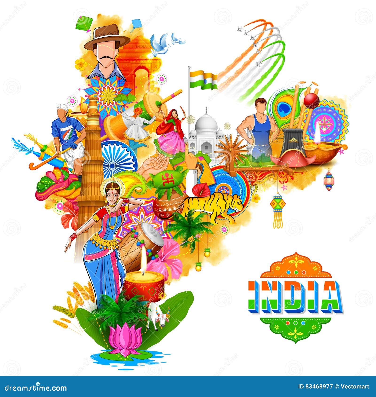 Υπόβαθρο της Ινδίας που παρουσιάζει τον απίστευτους πολιτισμό και ποικιλομορφία του με το μνημείο, φεστιβάλ χορού