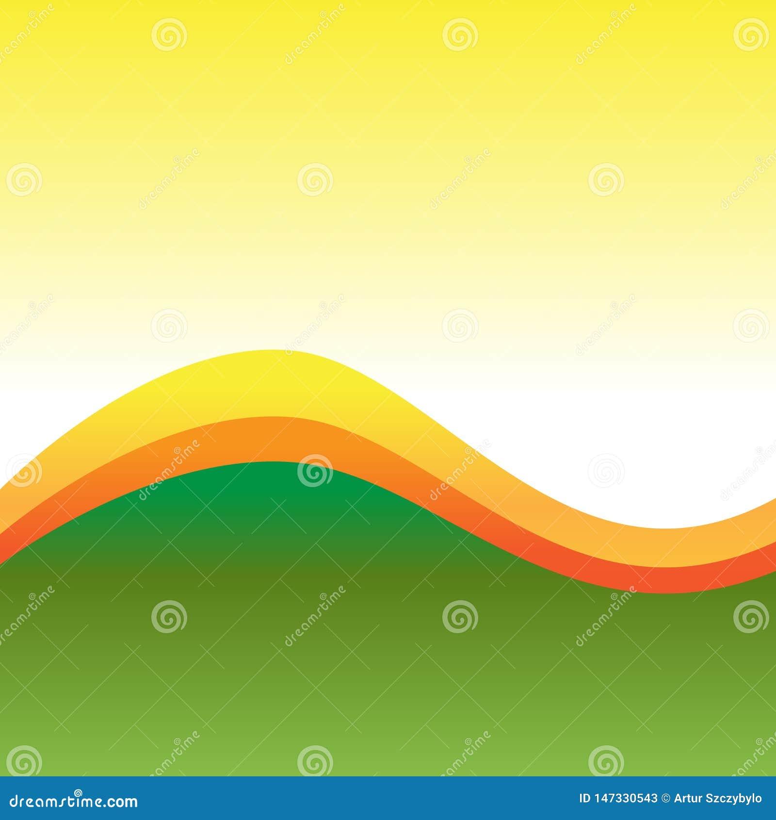 Υπόβαθρο τριών τόνου που διαιρείται με δύο γραμμές Curvy διαφορετικών χρωμάτων Πολύχρωμο κυματιστό αφηρημένο σχέδιο Ιδέα σκηνικού