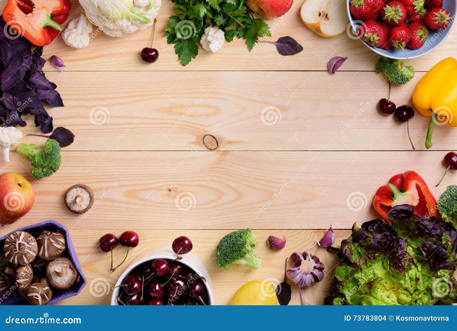 Υπόβαθρο τροφίμων λαχανικών και φρούτων Οργανικά υγιή χορτοφάγα τρόφιμα Σχεδιάγραμμα αγοράς αγροτών Διαστημική, τοπ άποψη αντιγρά